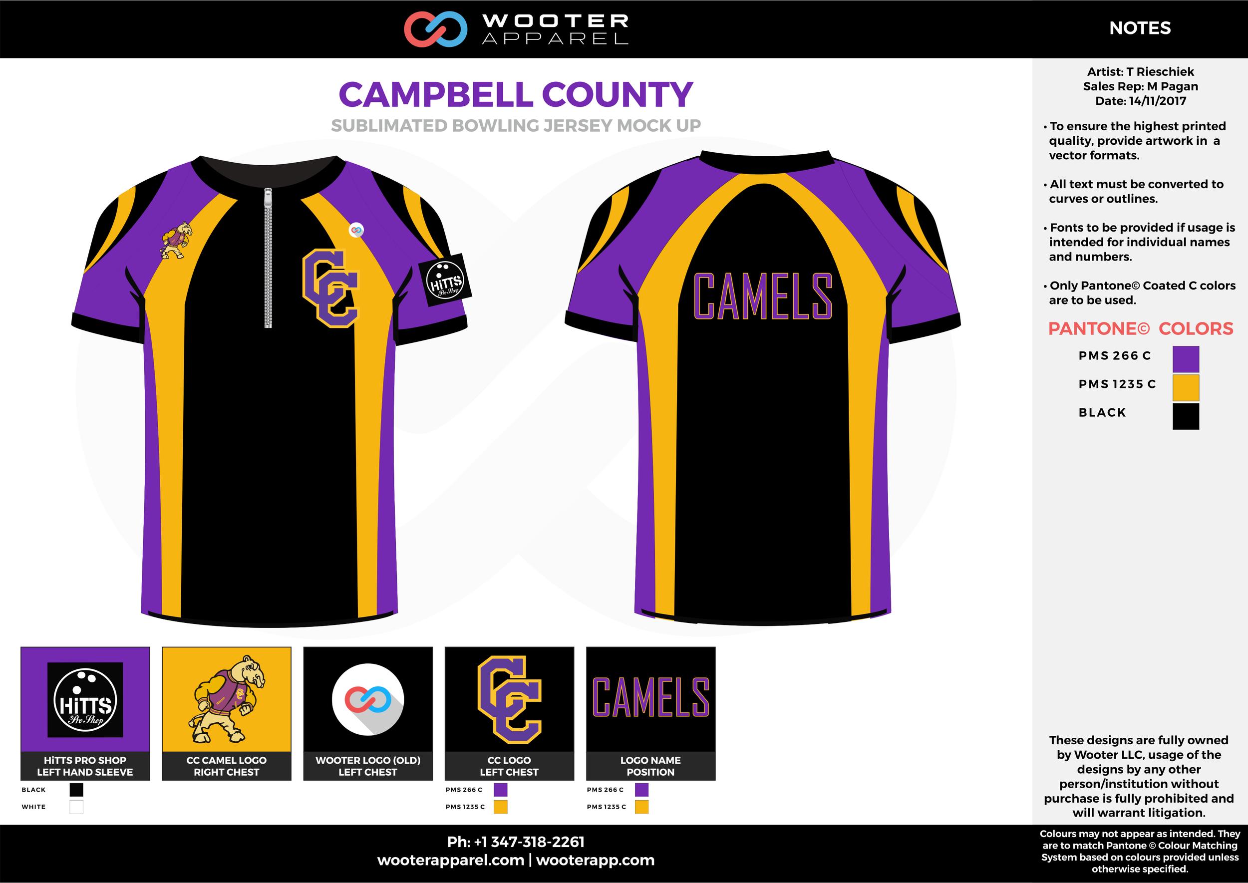 CAMPBELL COUNTY purple yellow black bowling uniforms, shirts, quarter zip polo