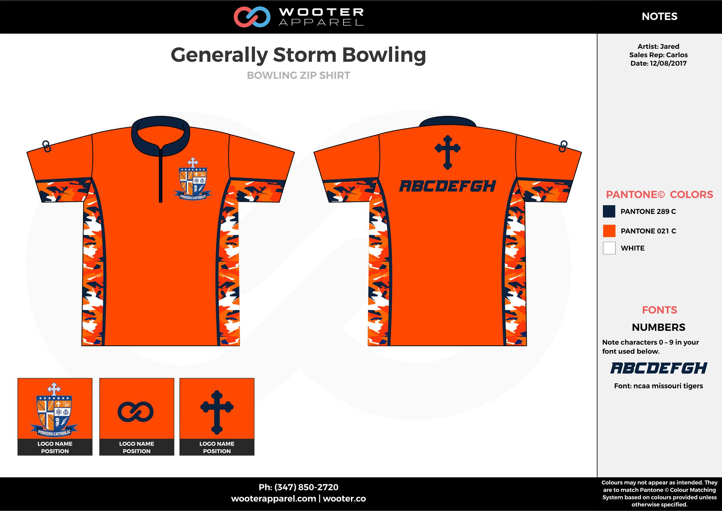 Generally Storm Bowling orange blue white bowling uniforms, shirts, quarter zip polo