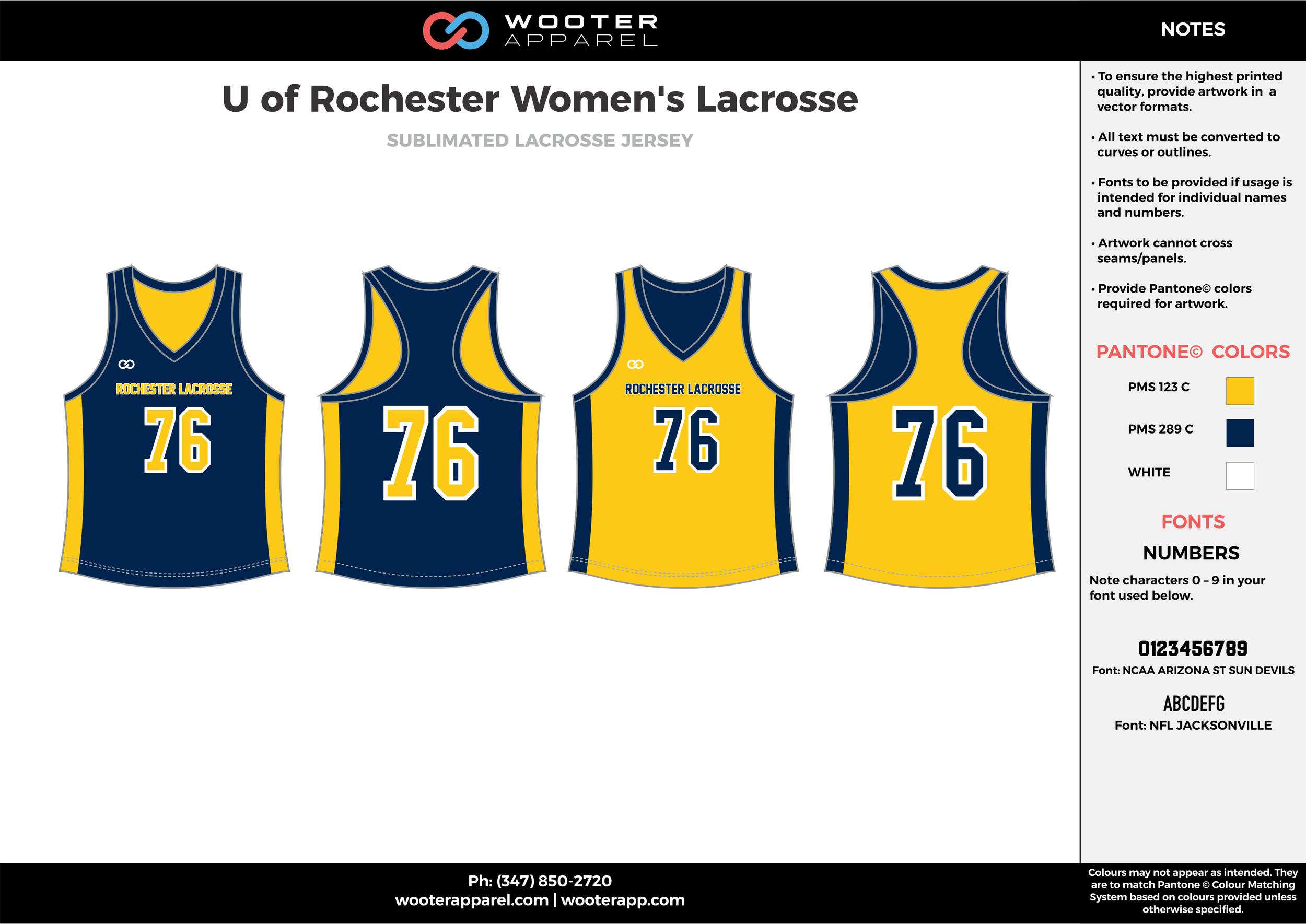 U of Rochester Women's Lacrosse yellow navy blue white Lacrosse uniforms reversible pinnies jerseys