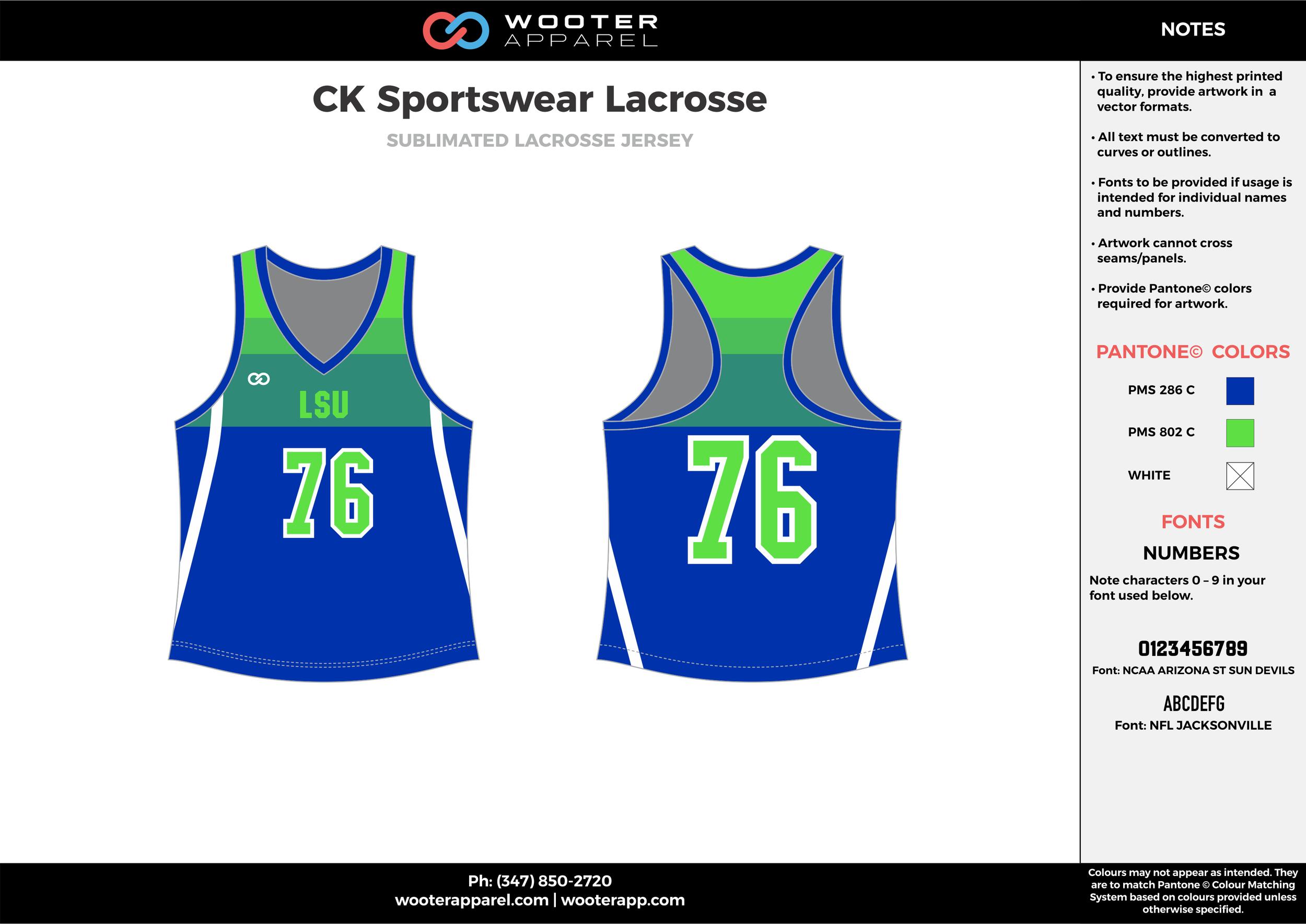 CK SPORTSWEAR LACROSSE green blue white Lacrosse uniforms pinnies jerseys