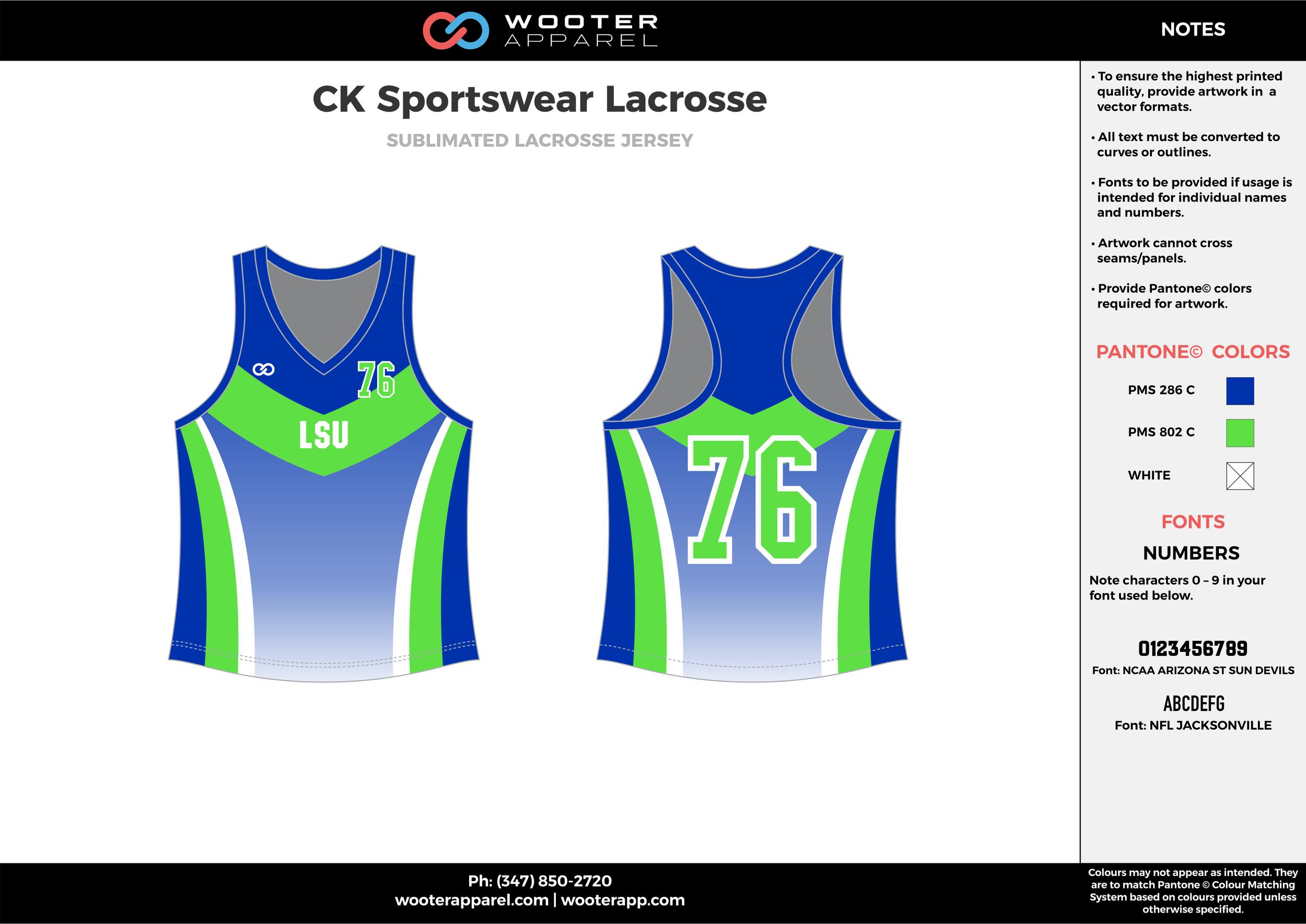 CK SPORTSWEAR LACROSSE blue green white Lacrosse uniforms pinnies jerseys