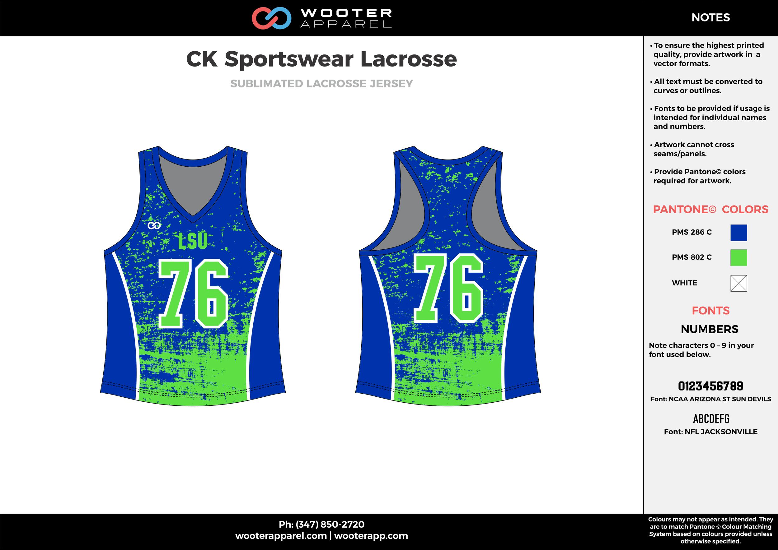 CK SPORTSWEAR LACROSSE green blue white Lacrosse uniform pinnies jerseys
