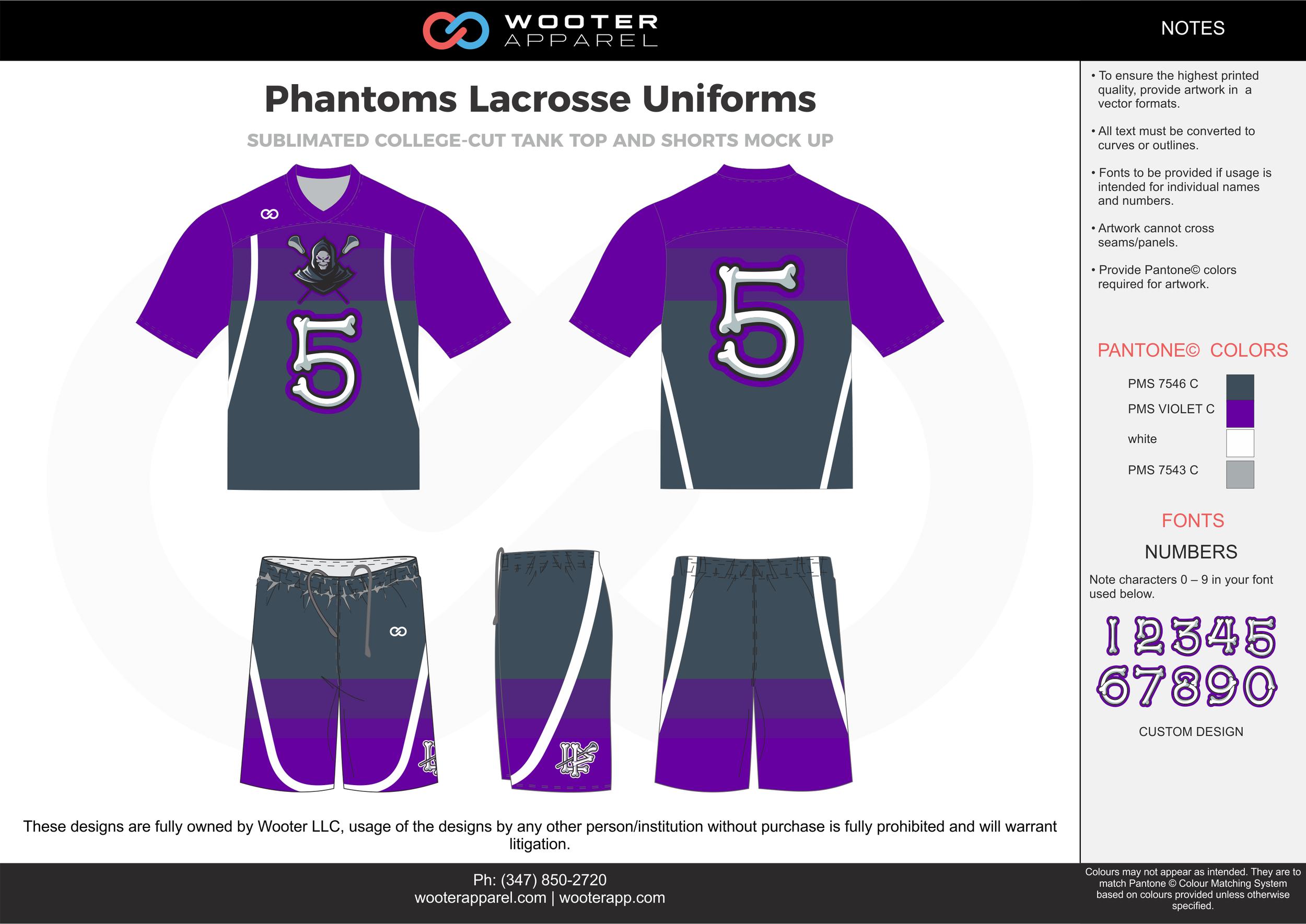 PANTHOMS LACROSSE UNIFORMS violet gray white Lacrosse uniforms jerseys shirts shorts