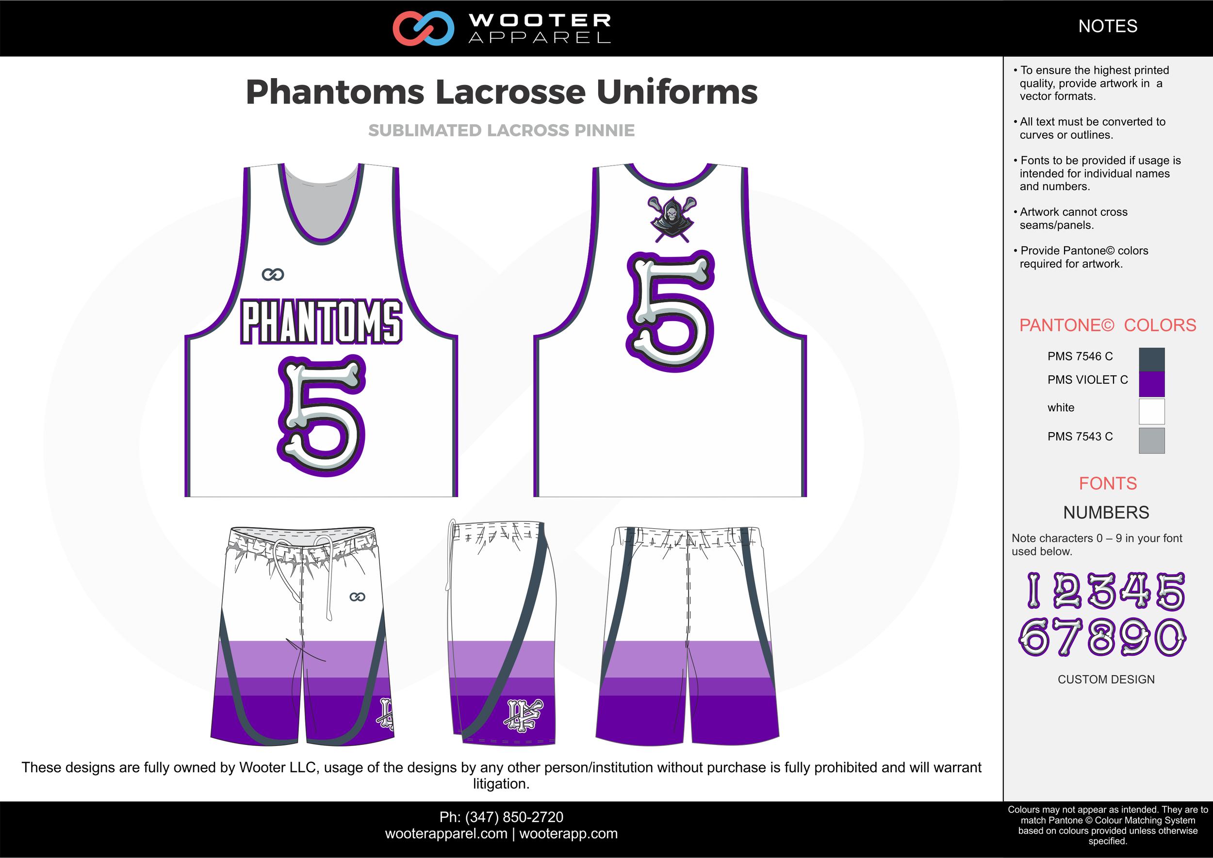 PHANTOMS LACROSSE UNIFORMS purple gray white Lacrosse uniforms pinnies jerseys shorts