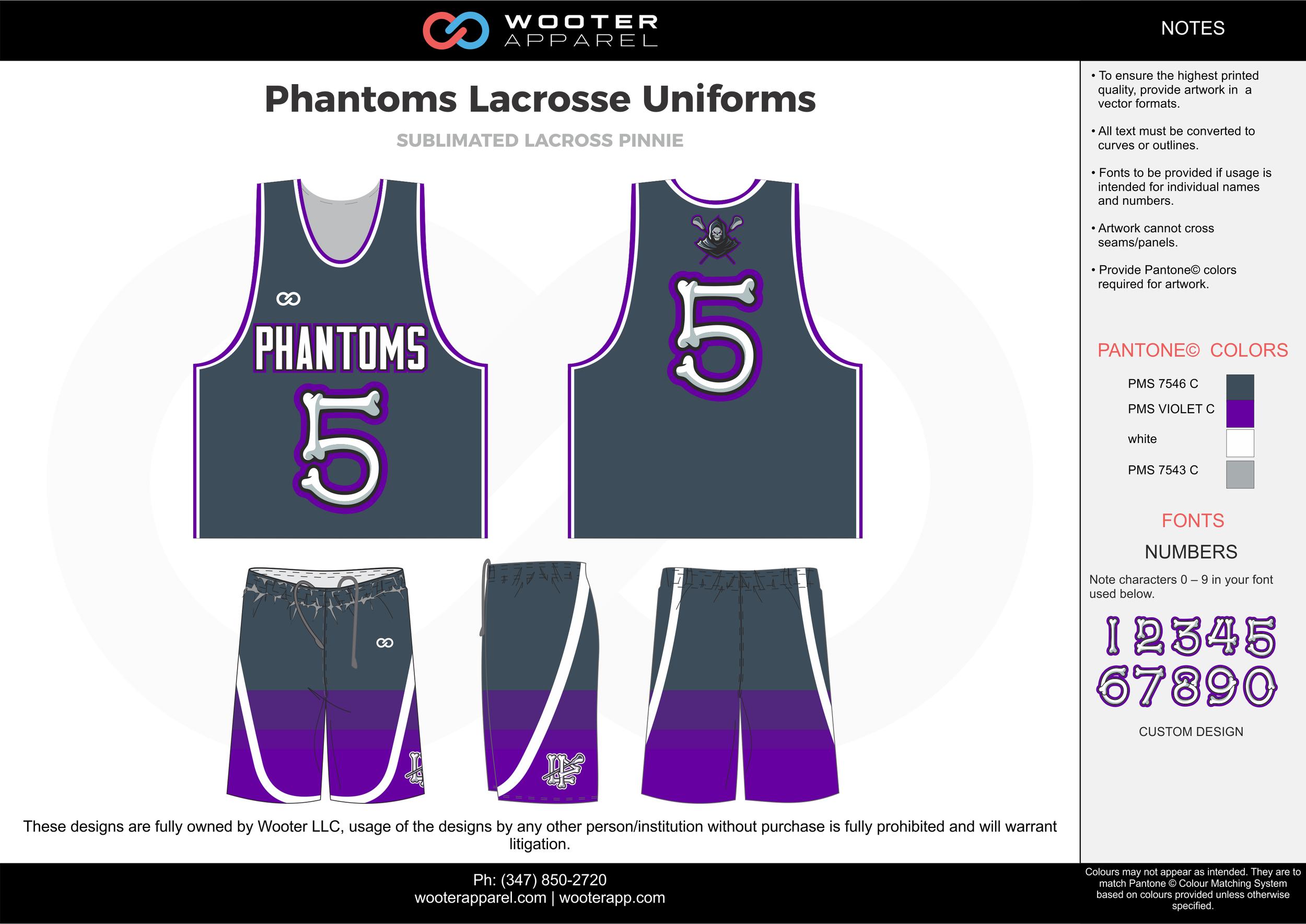 PHANTOMS LACROSSE UNIFORMS gray purple white Lacrosse uniforms pinnies jerseys shorts
