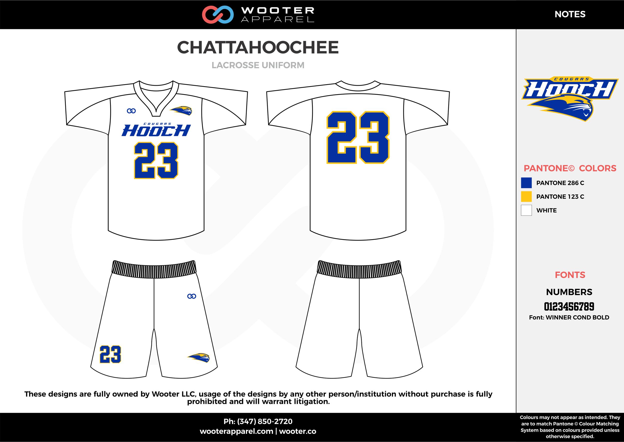 CHATTAHOOCHEE white blue yellow Lacrosse uniforms jerseys shirts shorts