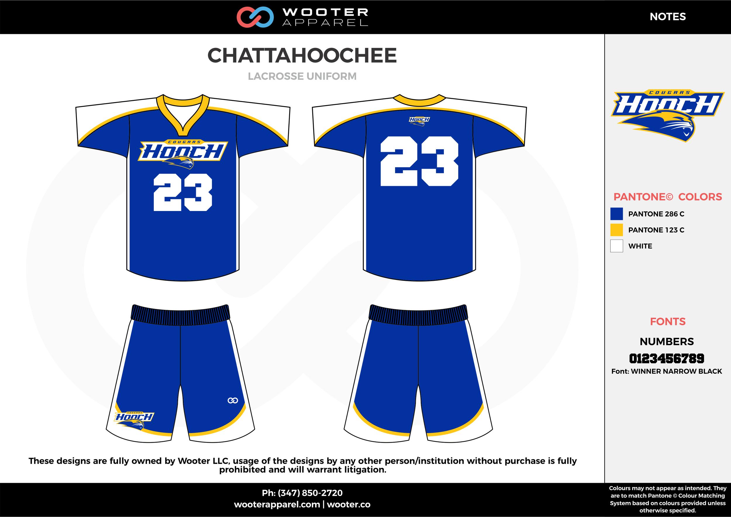 CHATTAHOOCHEE blue white yellow Lacrosse uniforms jerseys shirts shorts