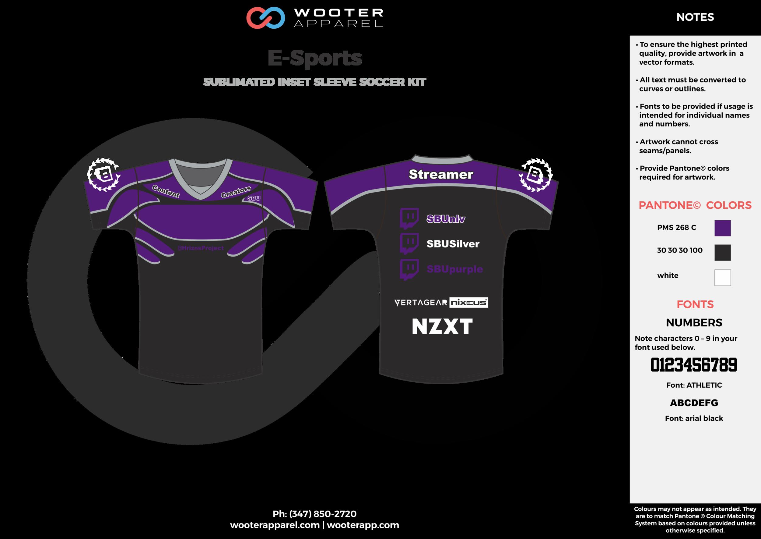 E-Sports purple black white e-sports jerseys, shirts, uniforms