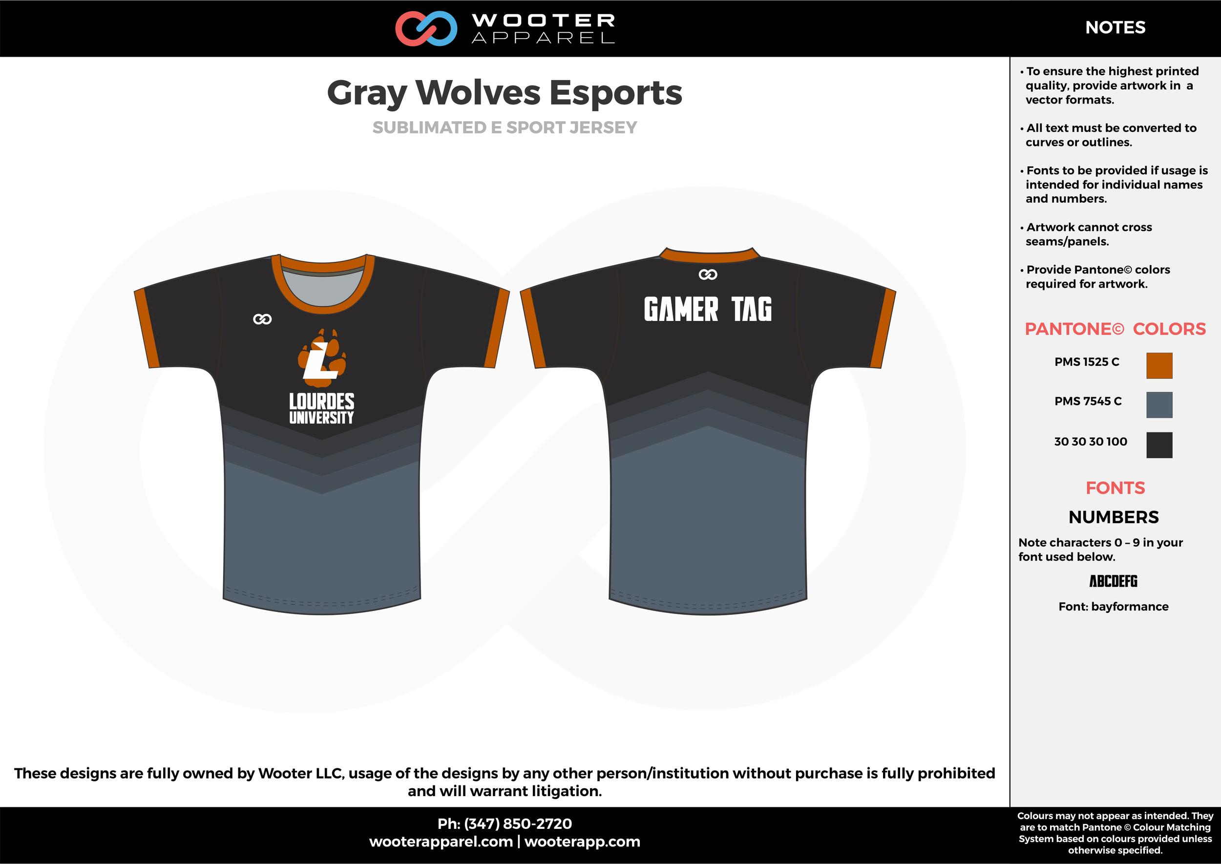 Gray Wolves Esports black gray orange e-sports jerseys, shirts, uniforms