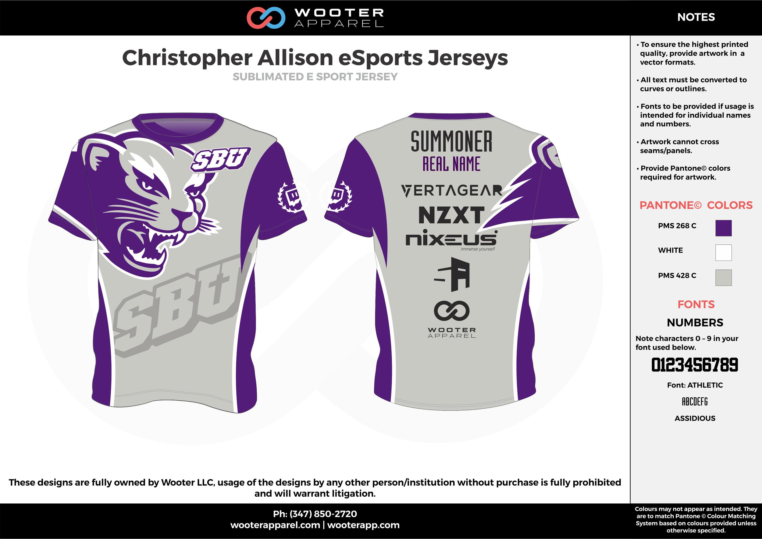 Christopher Allison eSports Jerseys gray purple white e-sports jerseys, shirts, uniforms