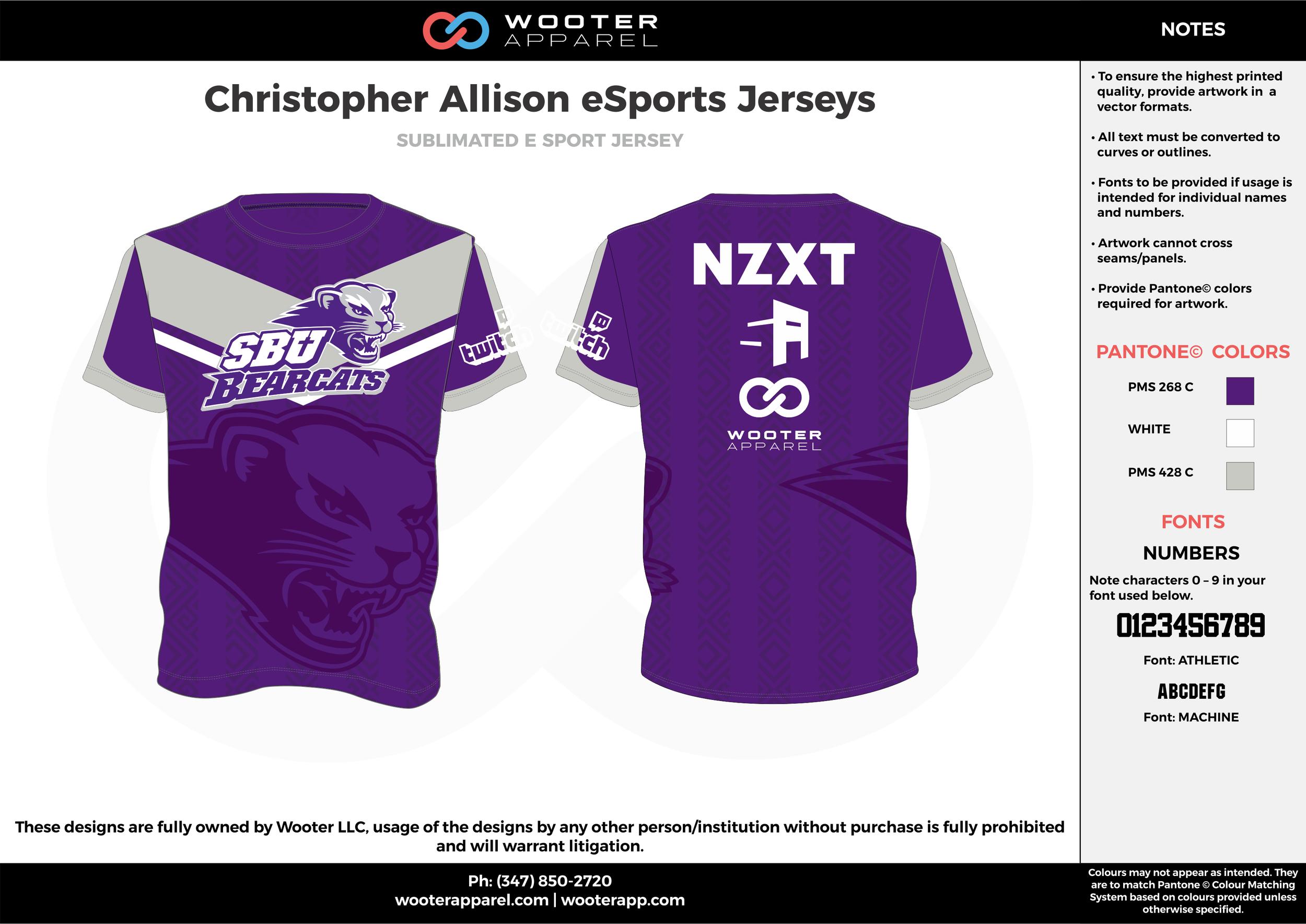 Christopher Allison eSports Jerseys purple white gray e-sports jerseys, shirts, uniforms