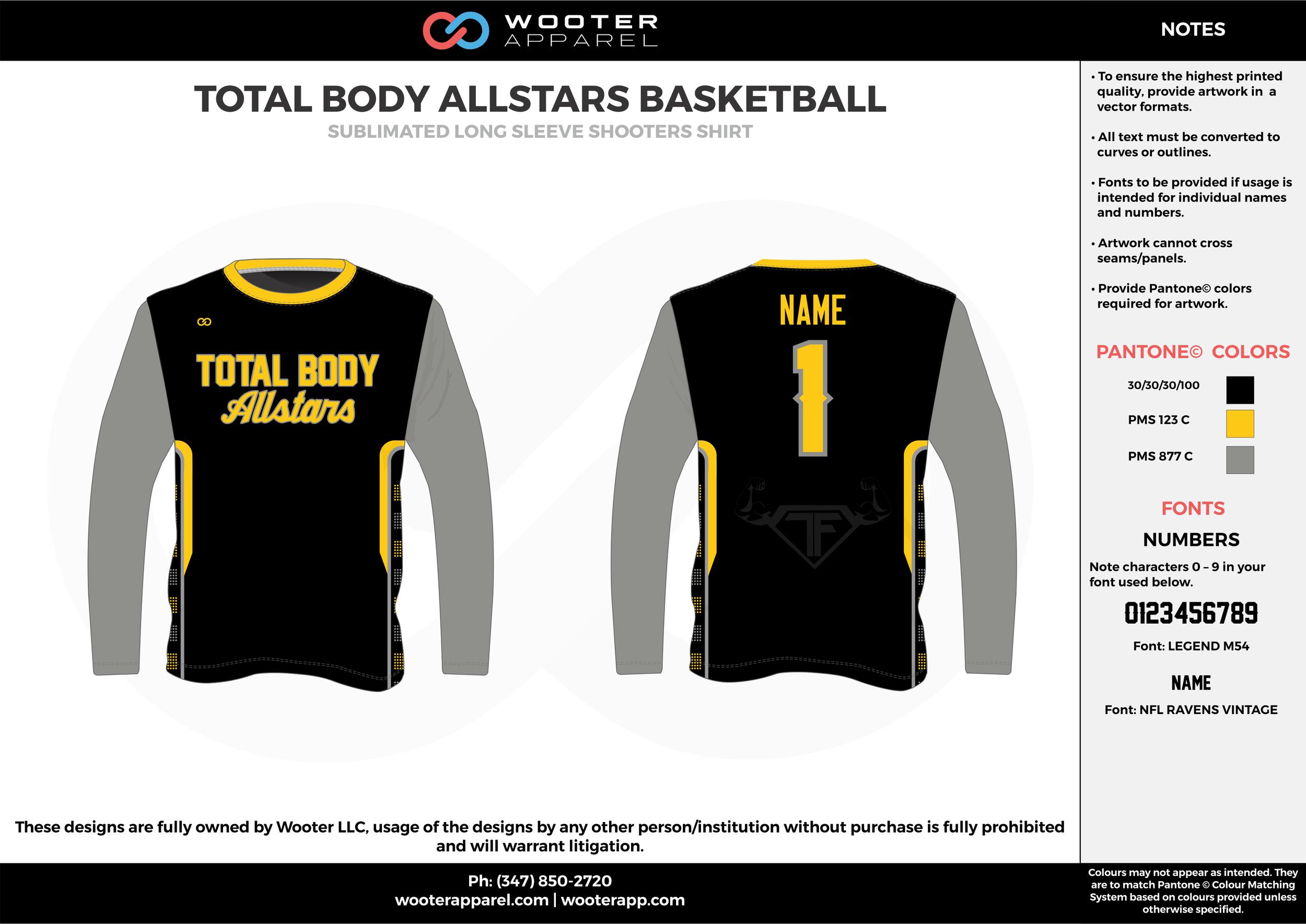TOTAL BODY ALLSTARS BASKETBALL  black gray yellow Basketball Long Sleeve Shooting Shirt