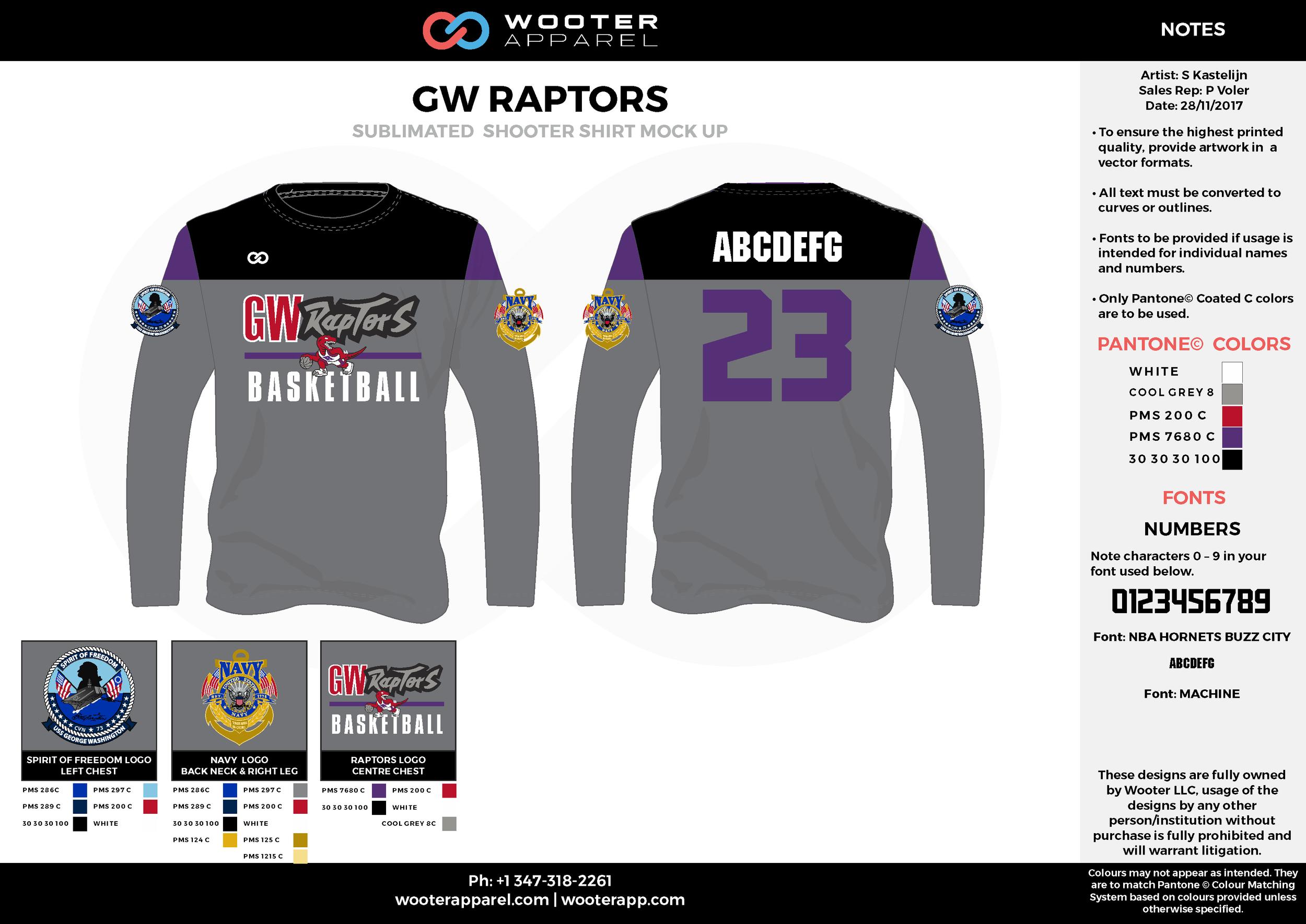 GW RAPTORS gray red purple black Basketball Long Sleeve Shooting Shirt
