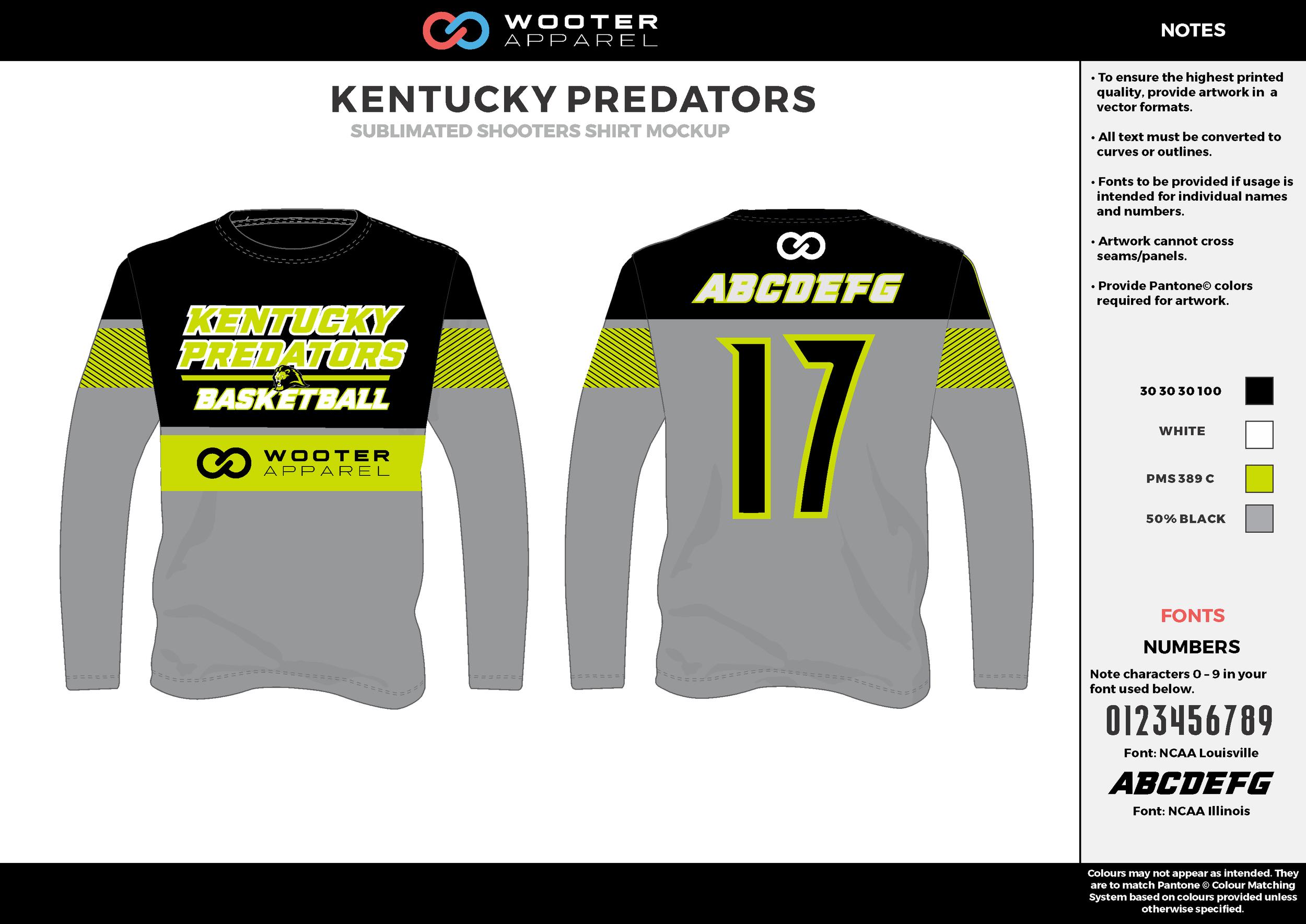 KENTUCKY PREDATORS gray black yellow white Basketball Long Sleeve Shooting Shirt
