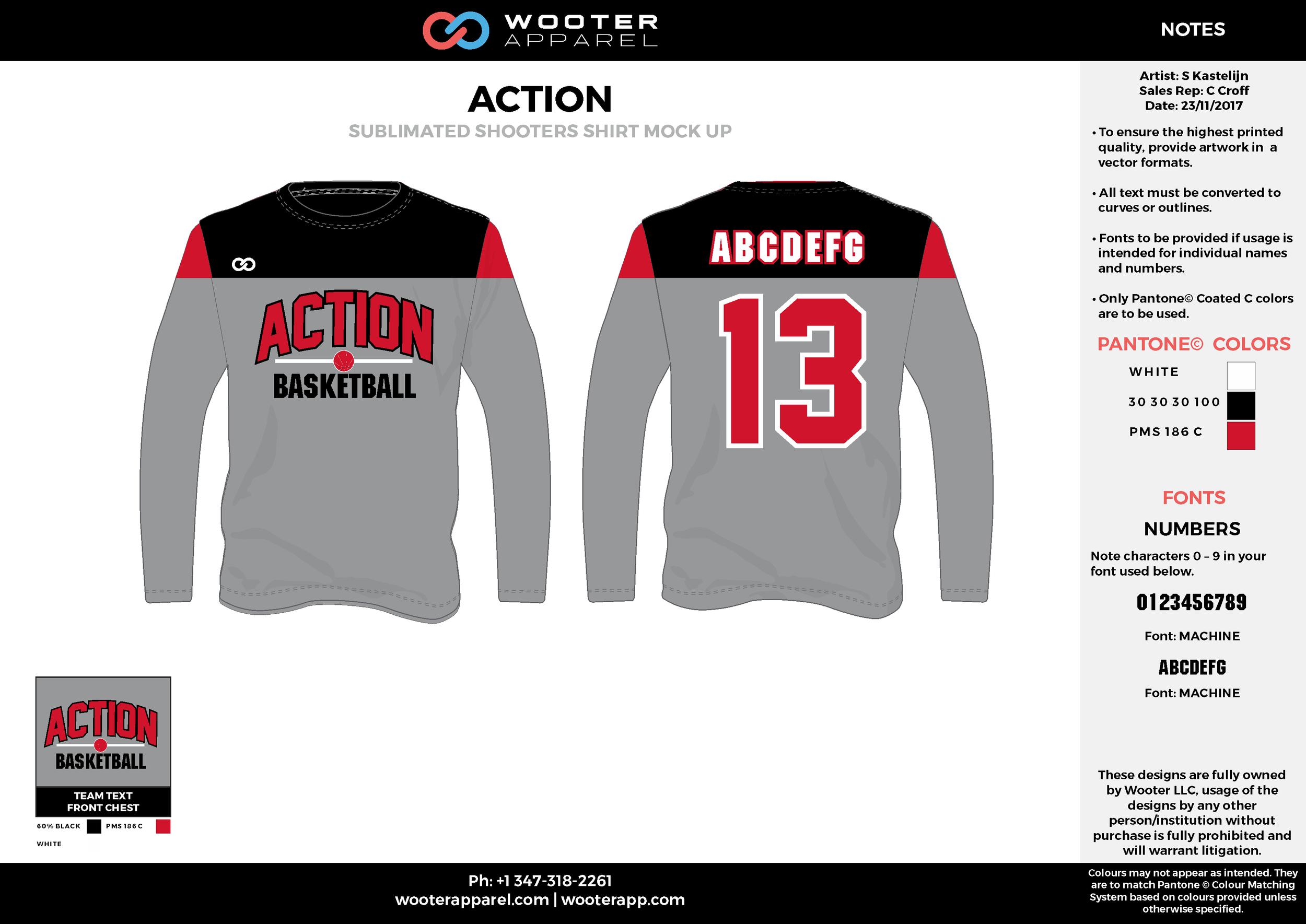 ACTION red gray black white Basketball Long Sleeve Shooting Shirt