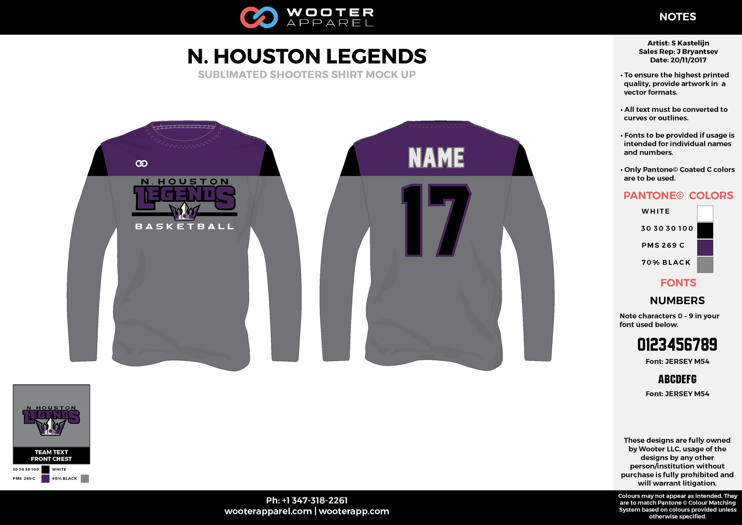 N. HOUSTON LEGENDS gray black purple Basketball Long Sleeve Shooting Shirt