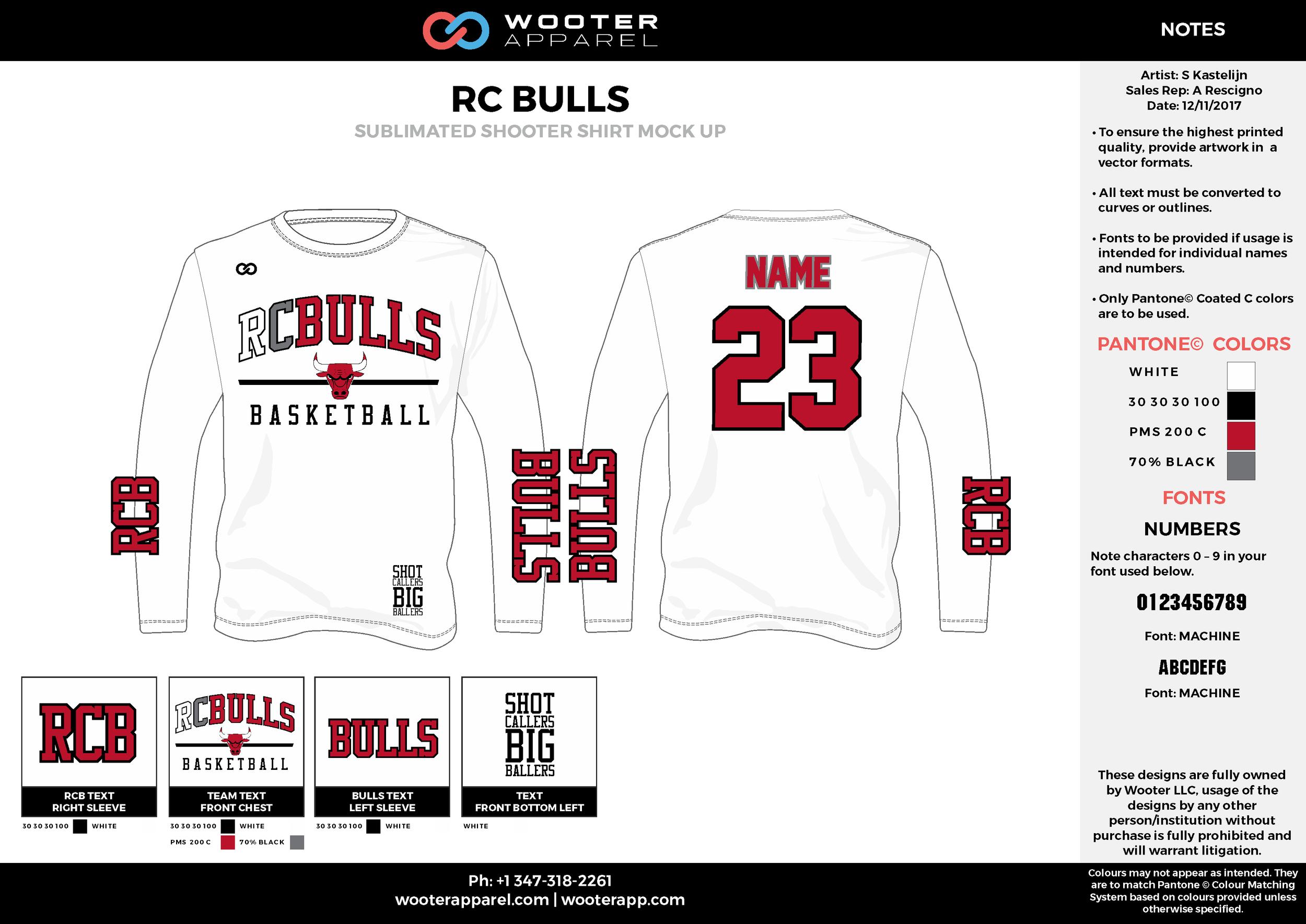 RC BULLS white red gray black Basketball Long Sleeve Shooting Shirt