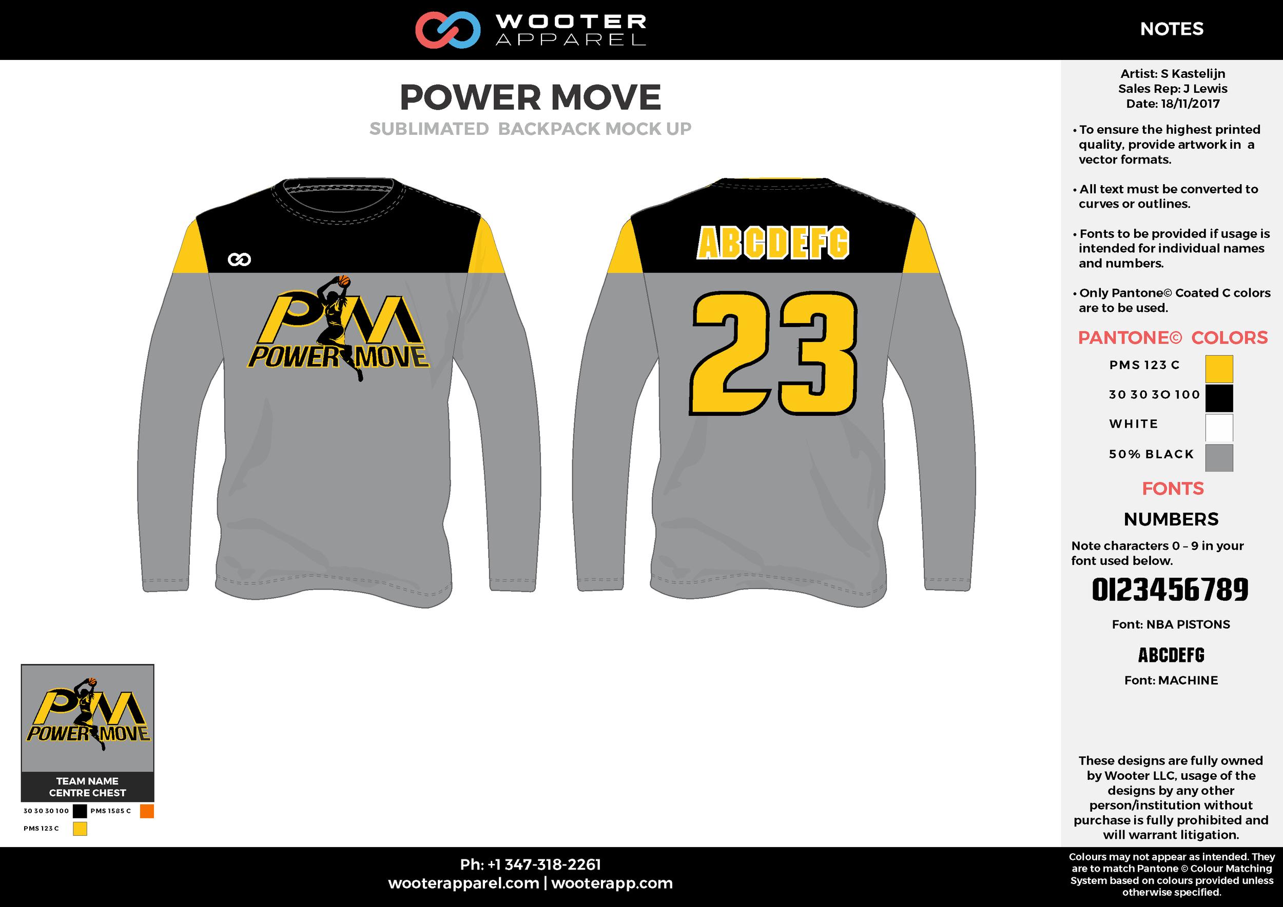 POWER MOVE gray yellow white black Basketball Long Sleeve Shooting Shirt