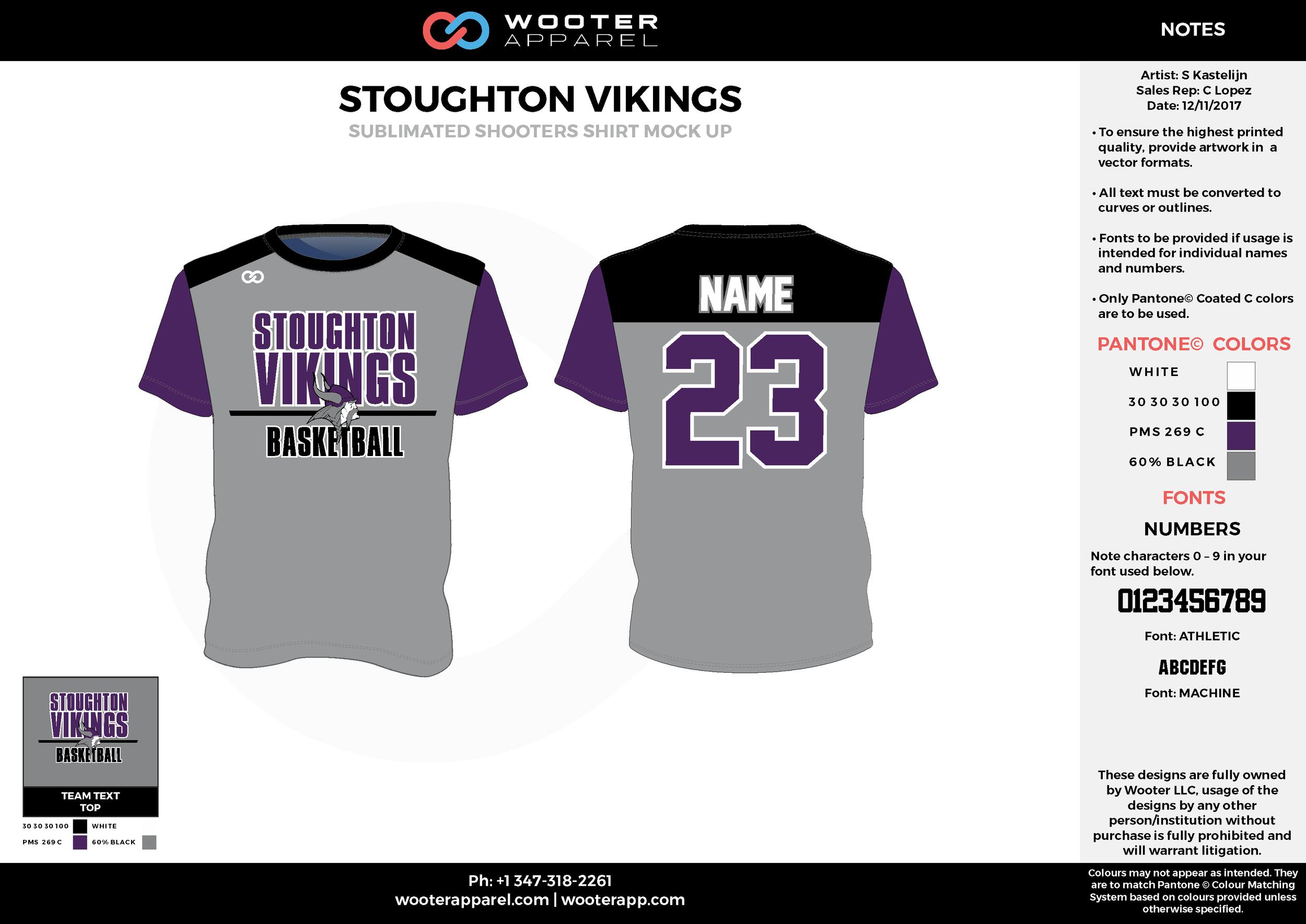 STOUGHTON VIKINGS gray black purple Basketball Short Sleeve Shooting Shirt