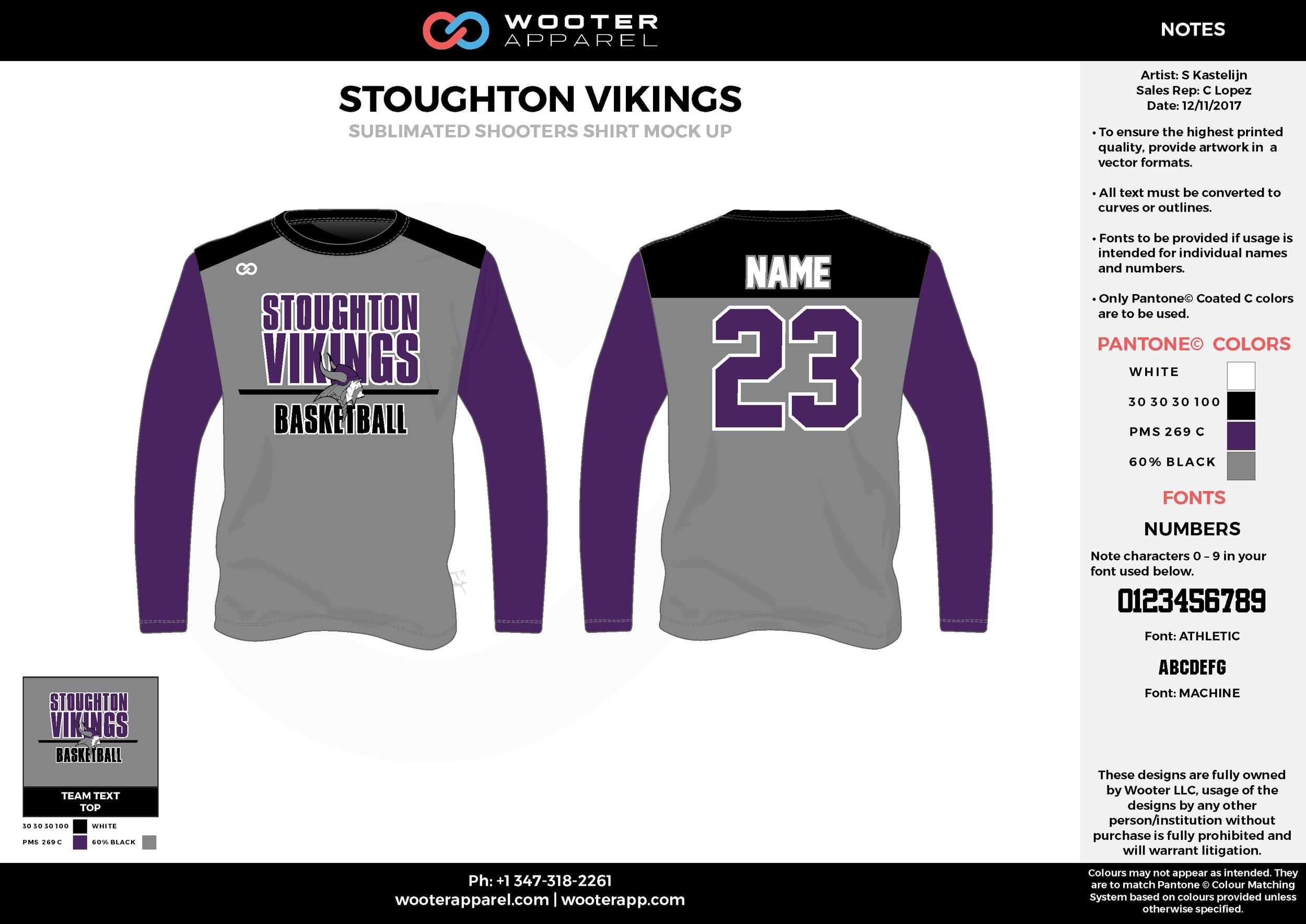 STOUGHTON VIKINGS purple black gray Basketball Long Sleeve Shooting Shirt