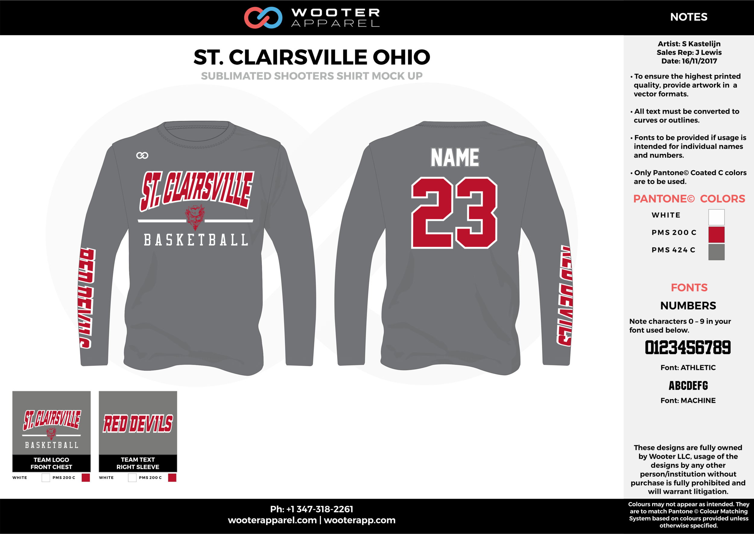 ST. CLAIRSVILLE OHIO gray red white Basketball Long Sleeve Shooting Shirt