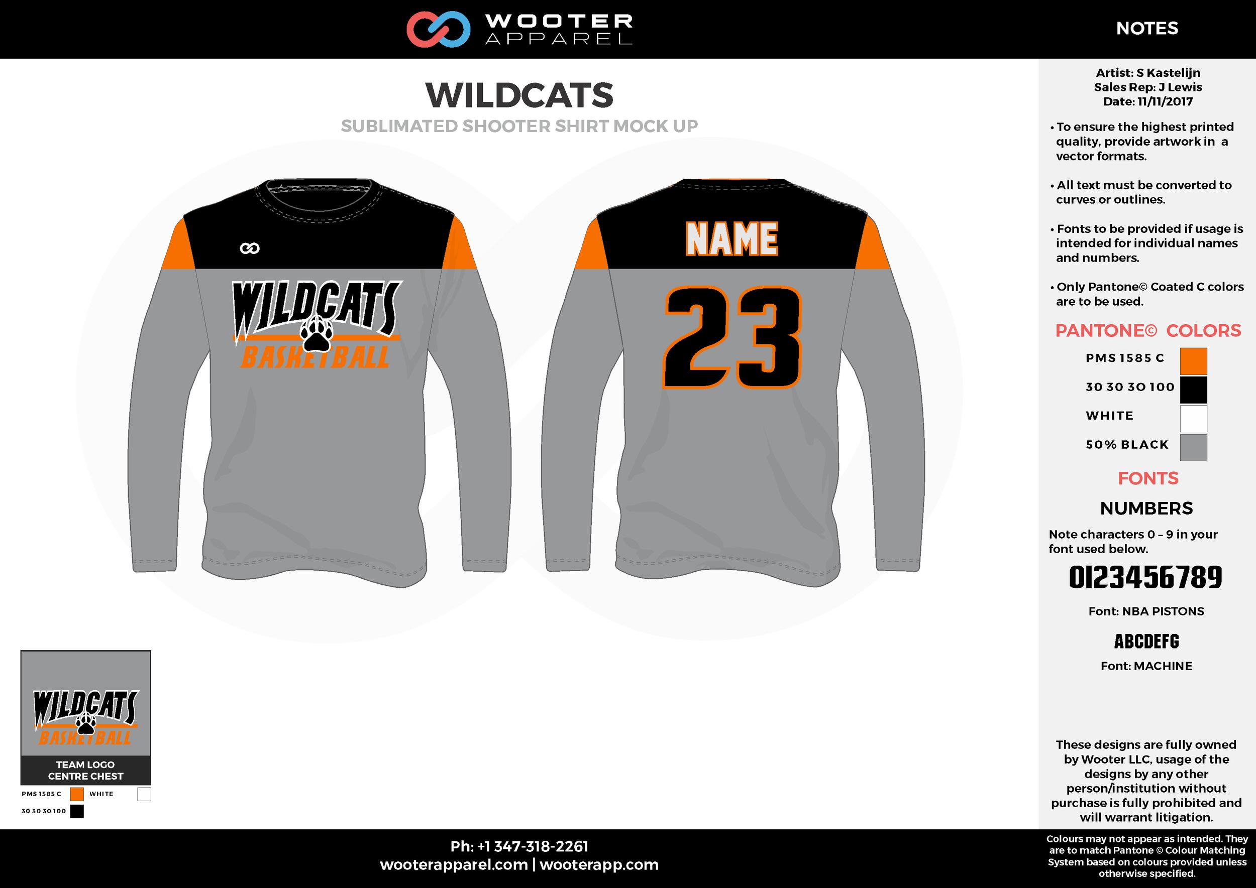 WILDCATS gray orange black white Basketball Long Sleeve Shooting Shirt