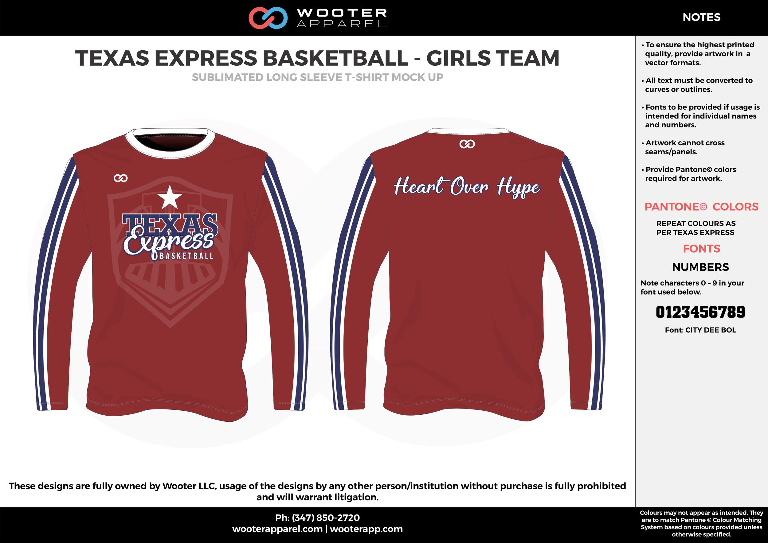 TEXAS EXPRESS BASKETBALL - GIRLS TEAM maroon white blue Basketball Long Sleeve Shooting Shirt