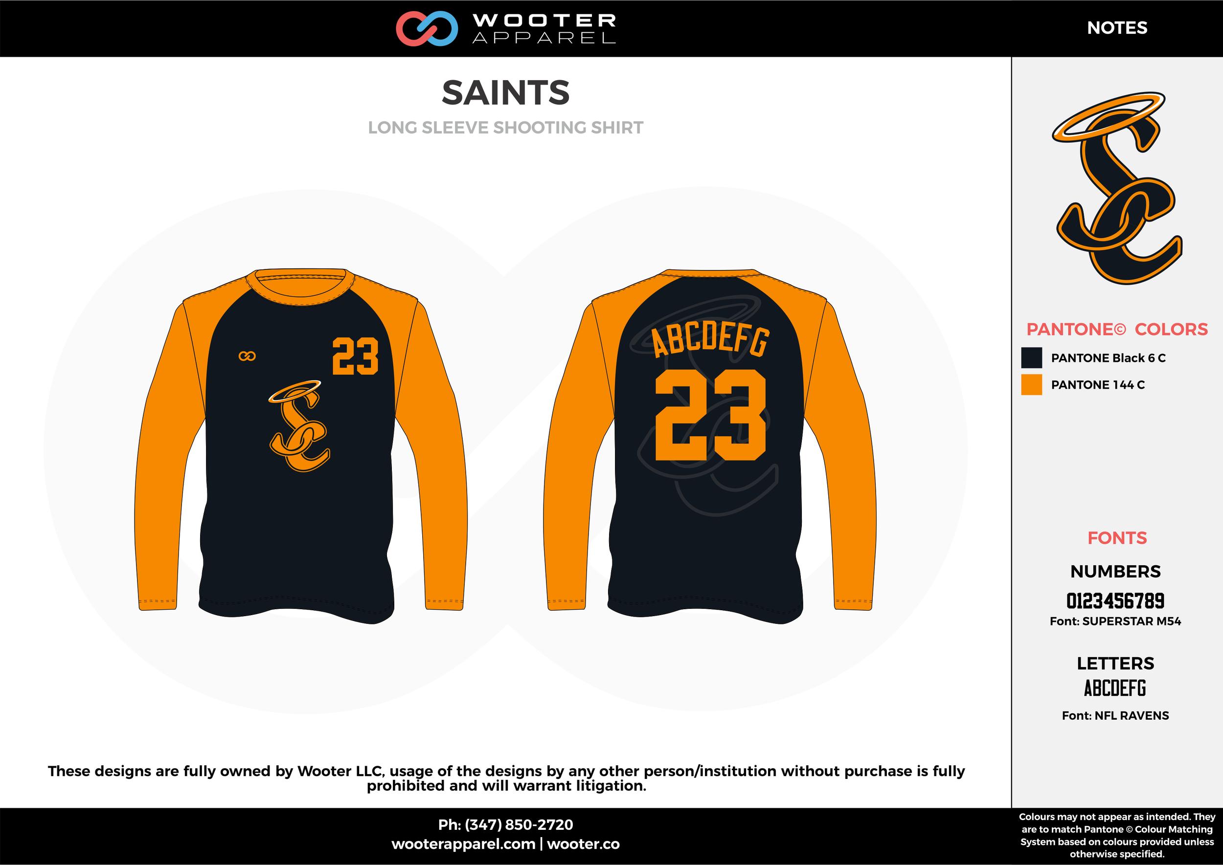 SAINTS black orange Basketball Long Sleeve Shooting Shirt