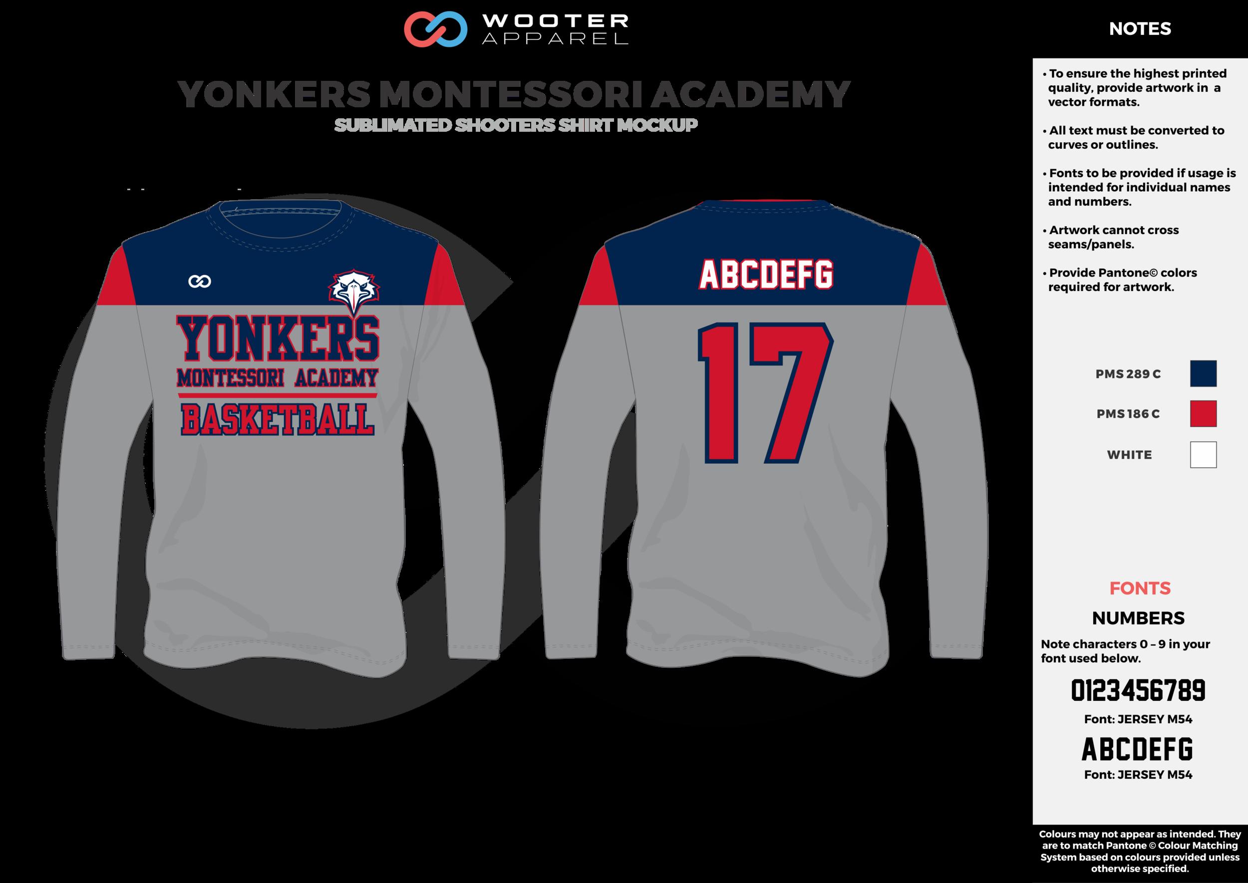YONKERS MONTESSORI ACADEMY blue gray red white Basketball Long Sleeve Shooting Shirt