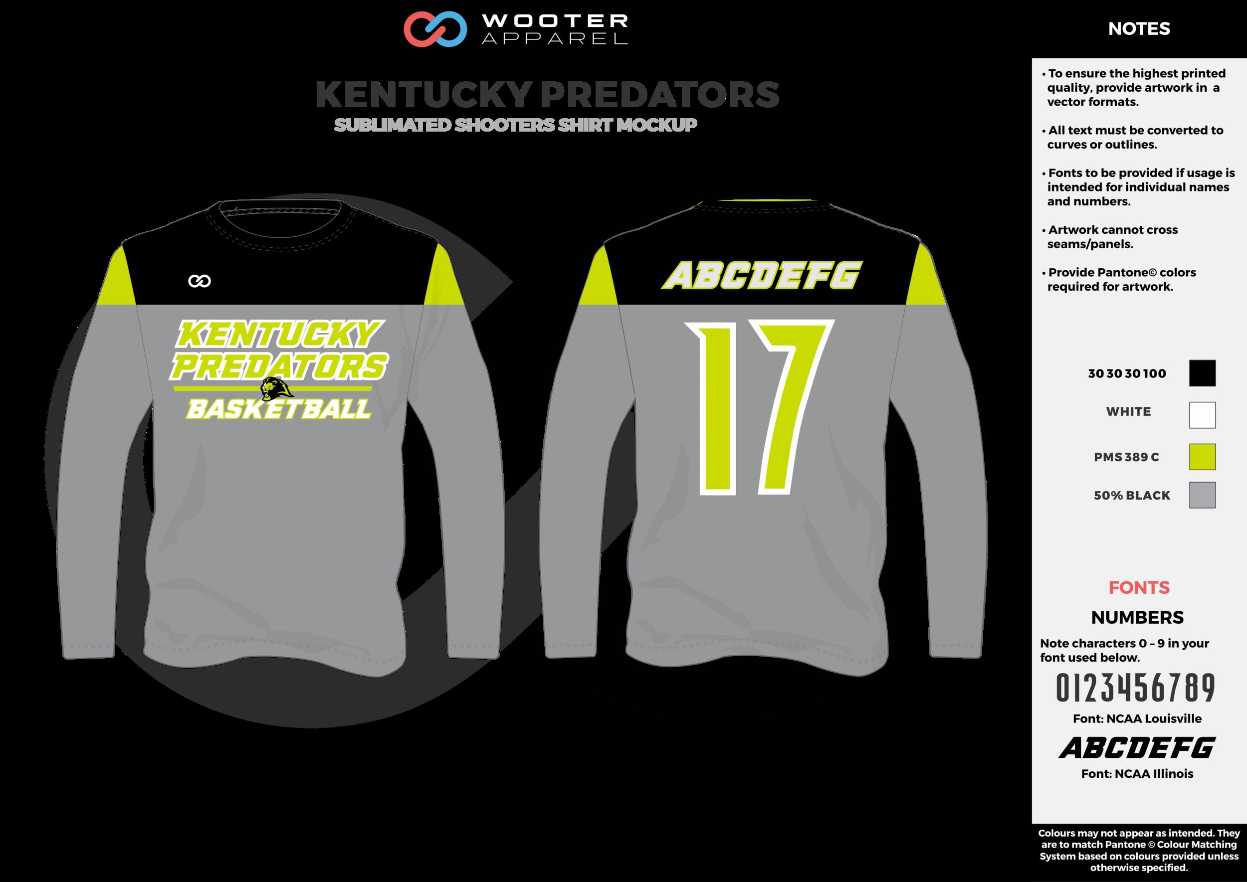 KENTUCKY PREDATORS gray green black white Basketball Long Sleeve Shooting Shirt