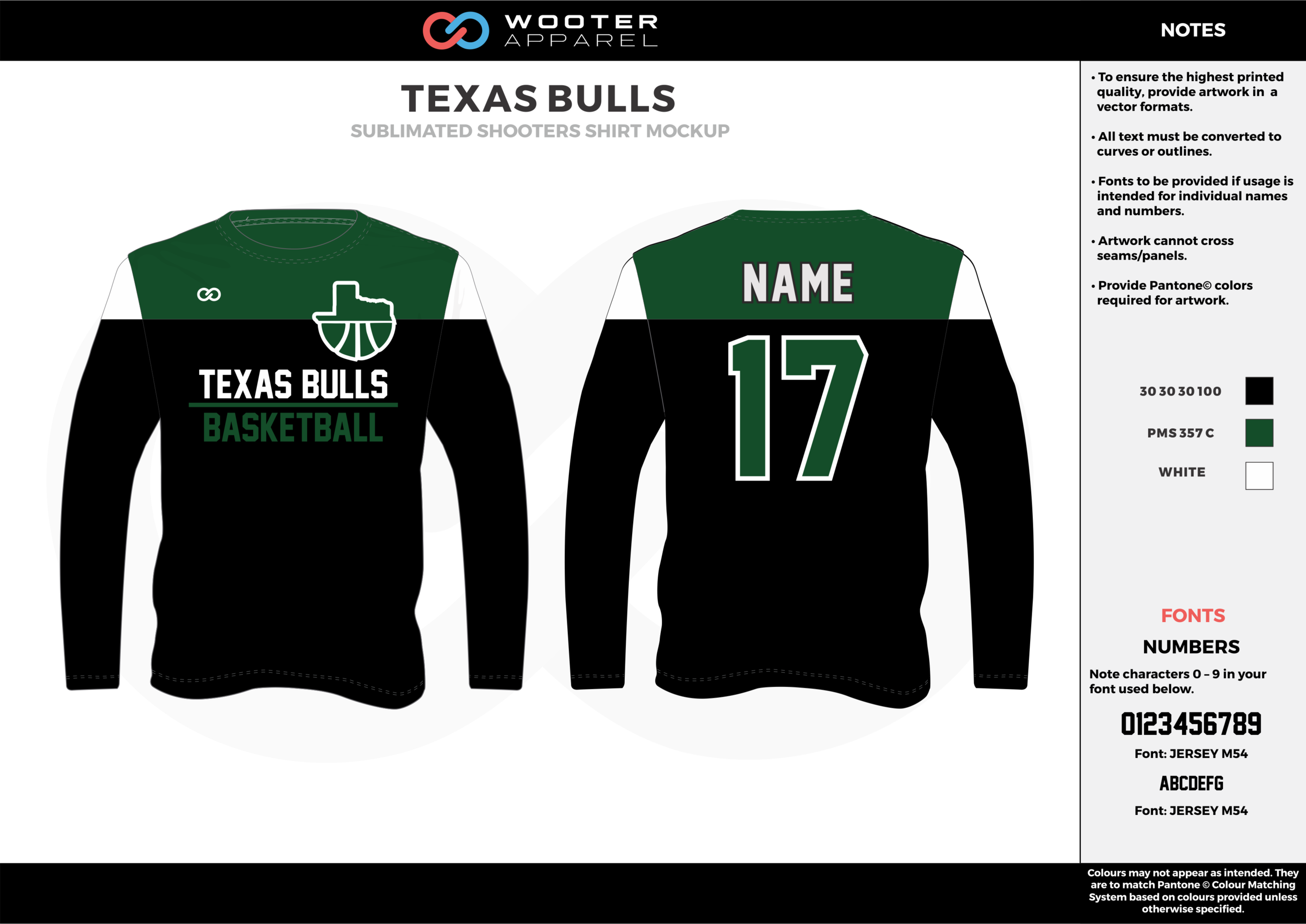 TEXAS BULLS black green white Basketball Long Sleeve Shooting Shirt