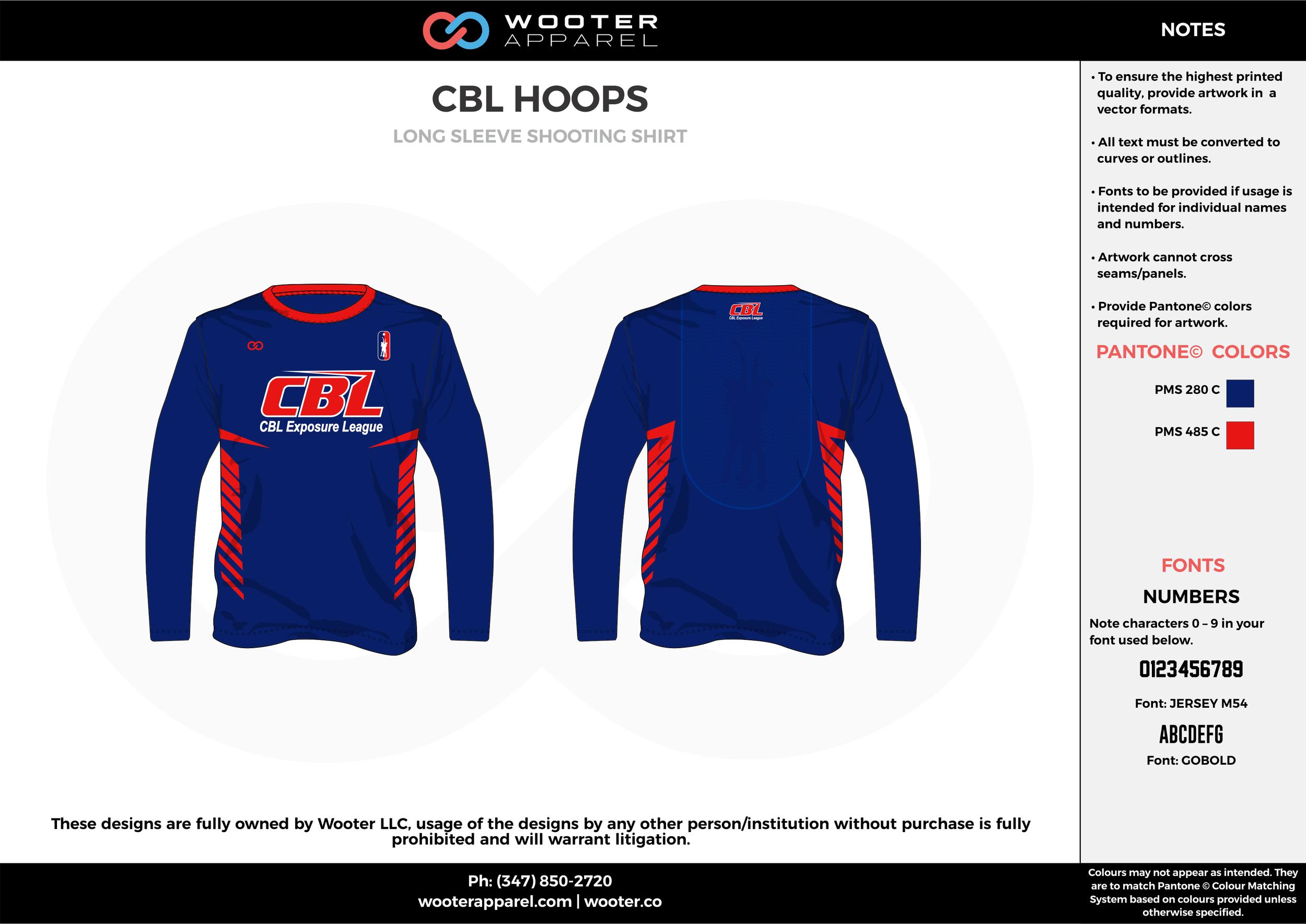 CBL HOOPS blue red Basketball Long Sleeve Shooting Shirt