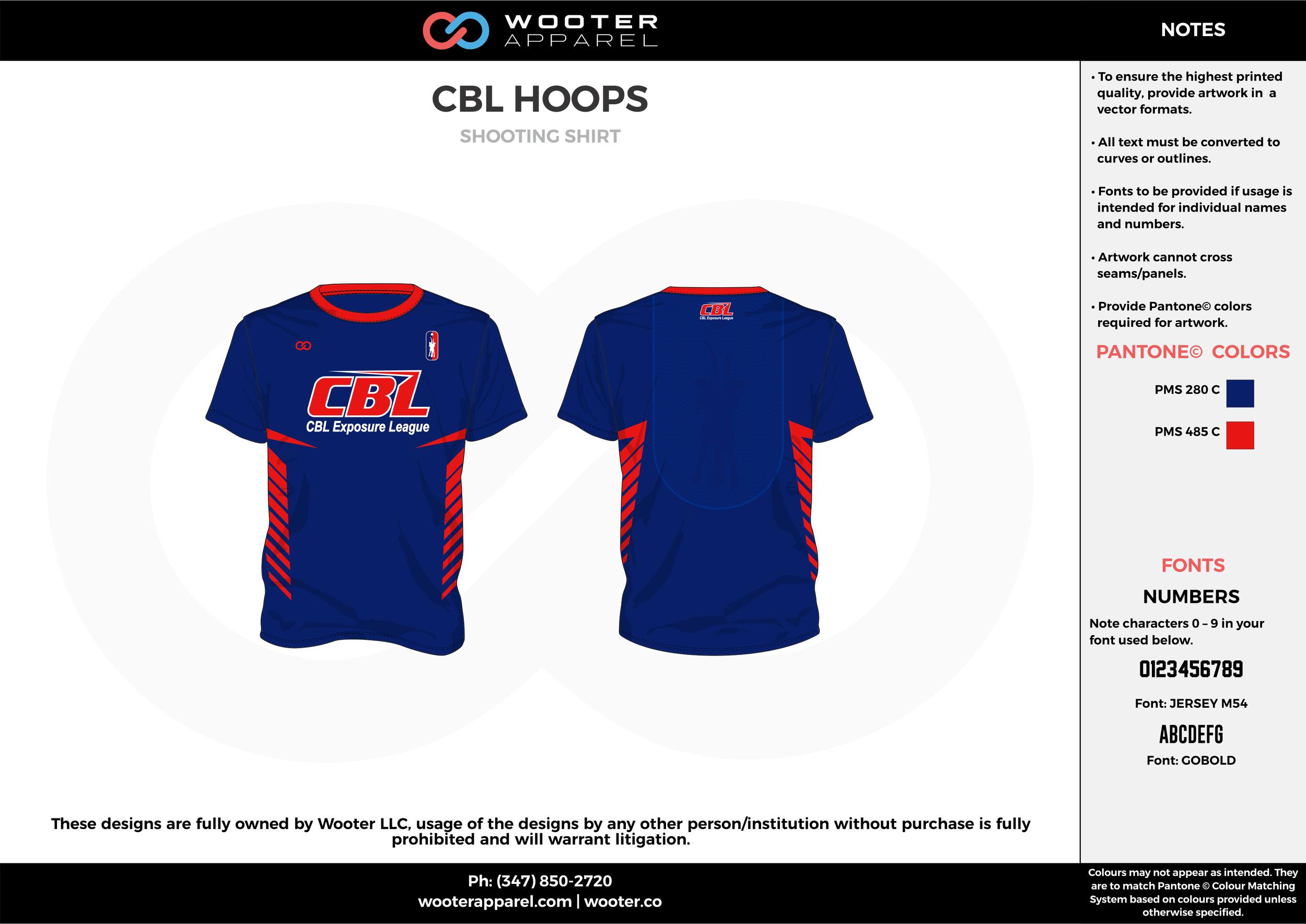 CBL HOOPS blue red Basketball Short Sleeve Shooting Shirt