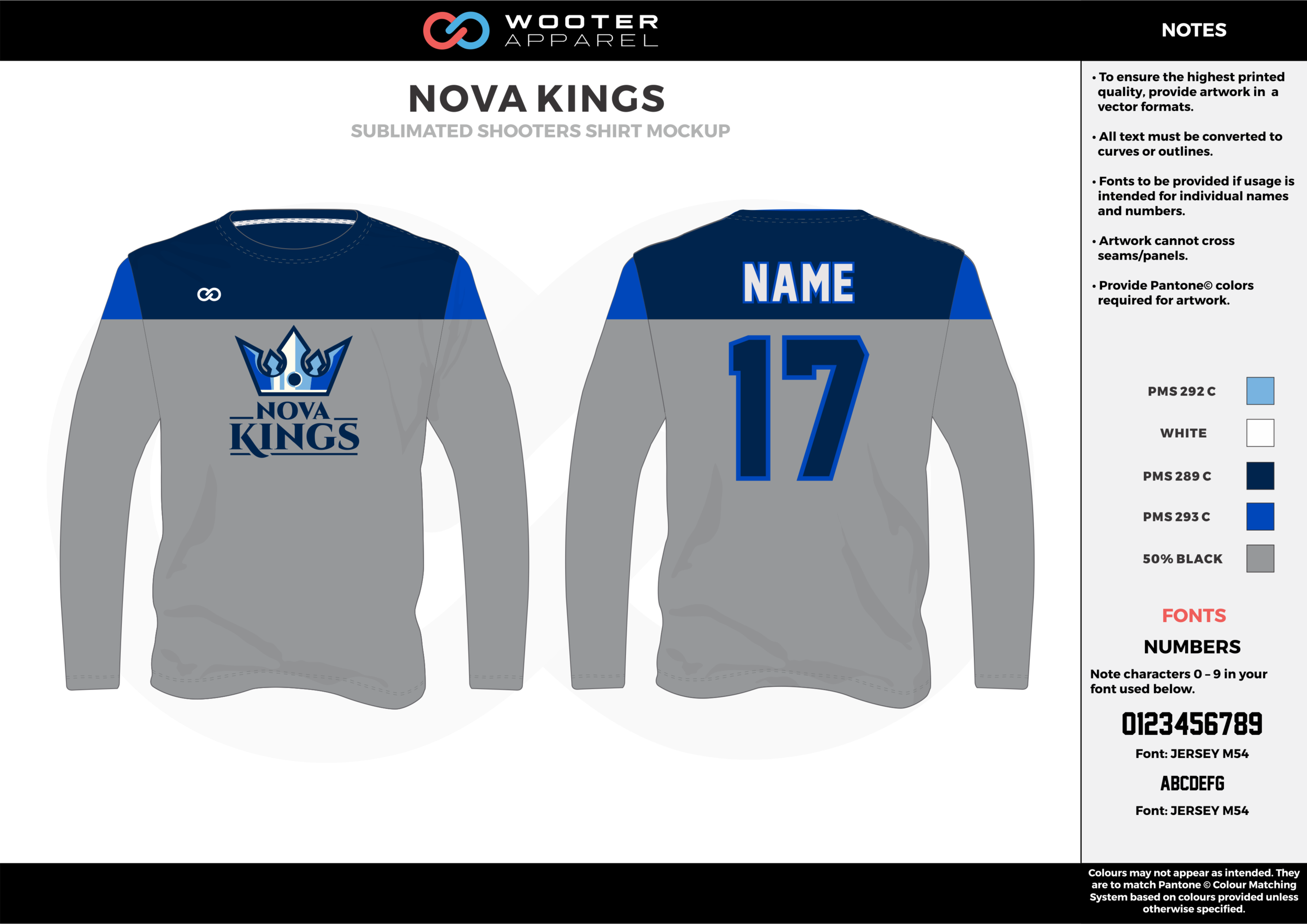 NOVA KINGS gray dark/sky blue white Basketball Long Sleeve Shooting Shirt