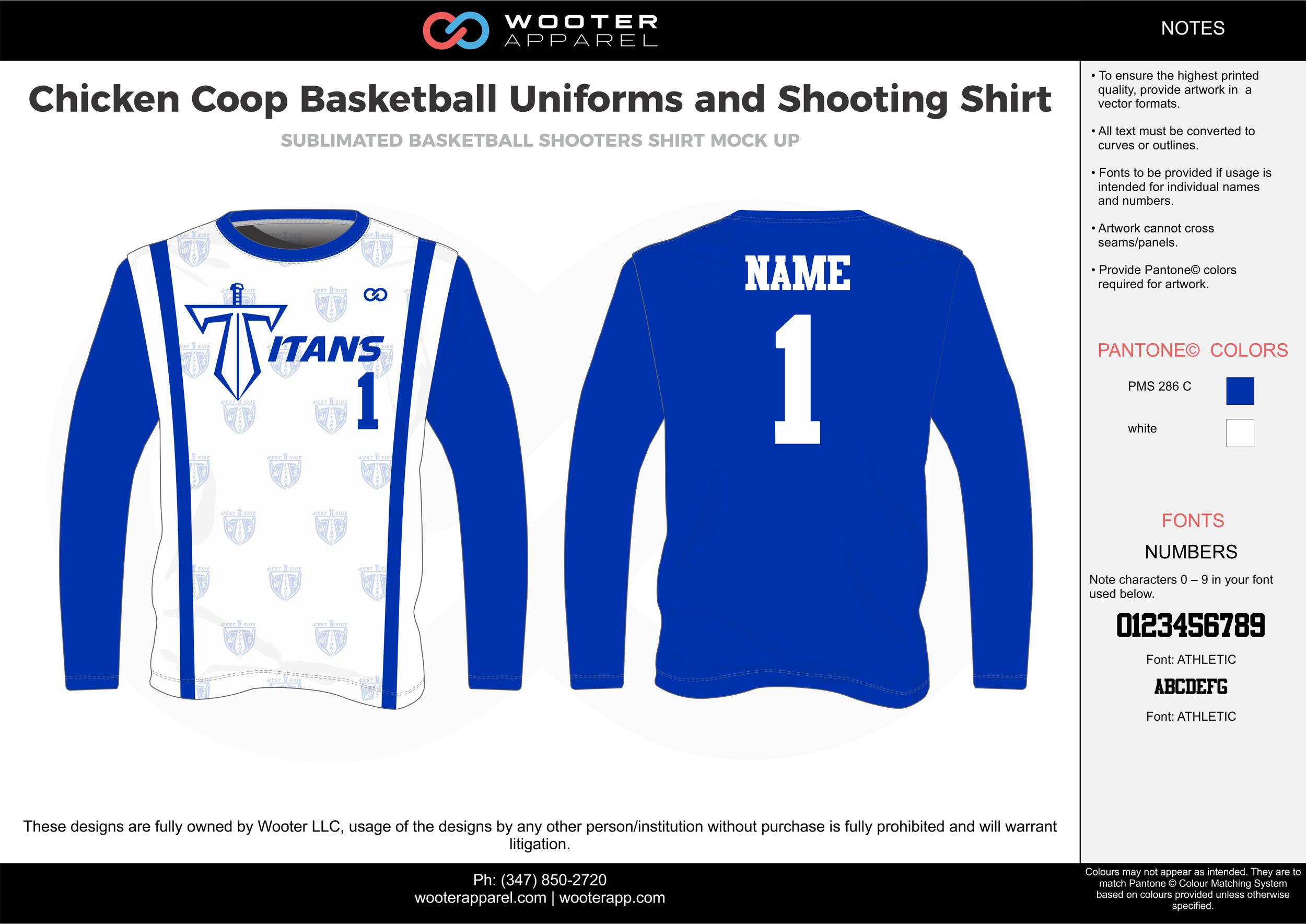CHICKEN COOP blue white Basketball Long Sleeve Shooting Shirt