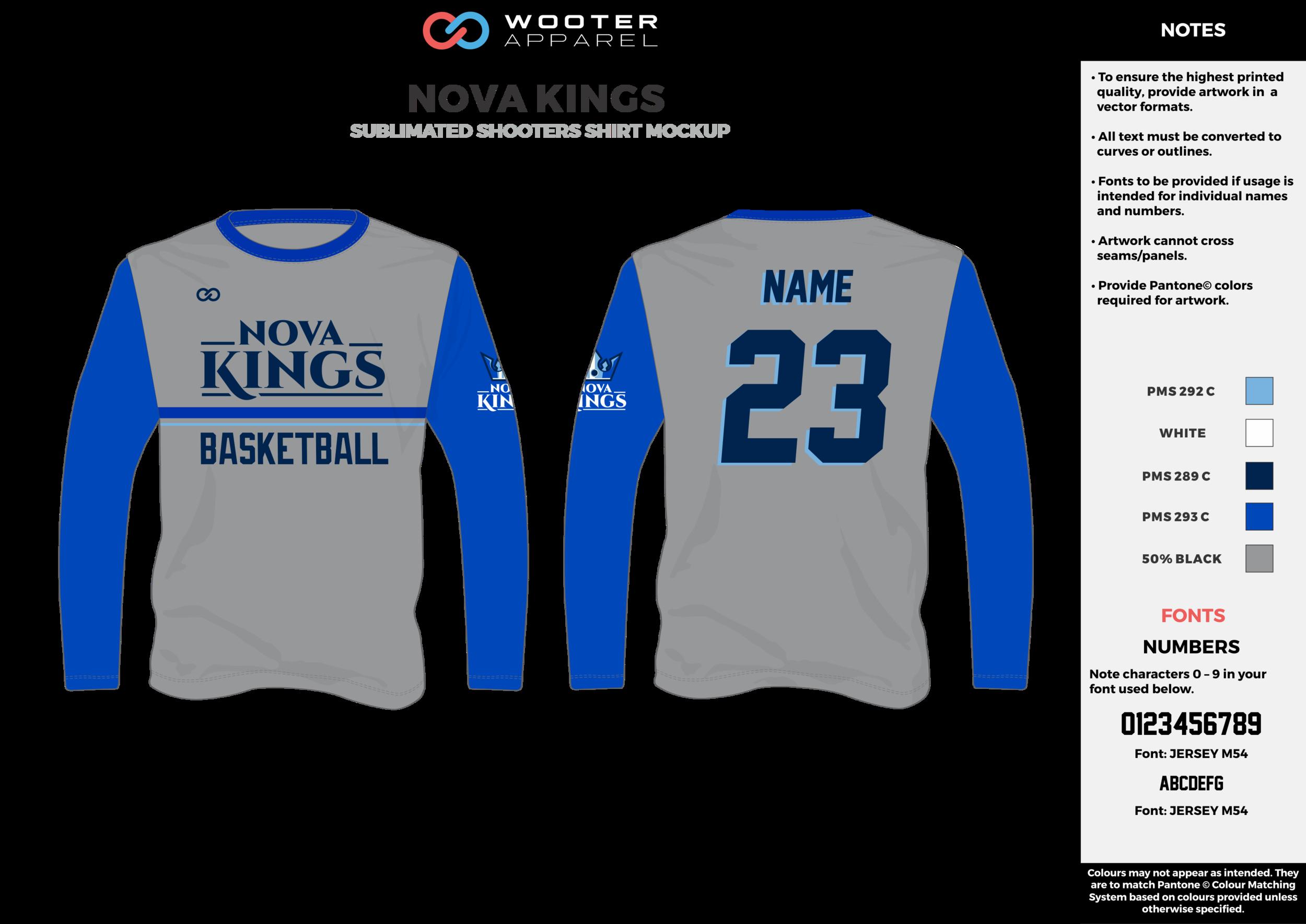 NOVA KINGS blue gray white Basketball Long Sleeve Shooting Shirt