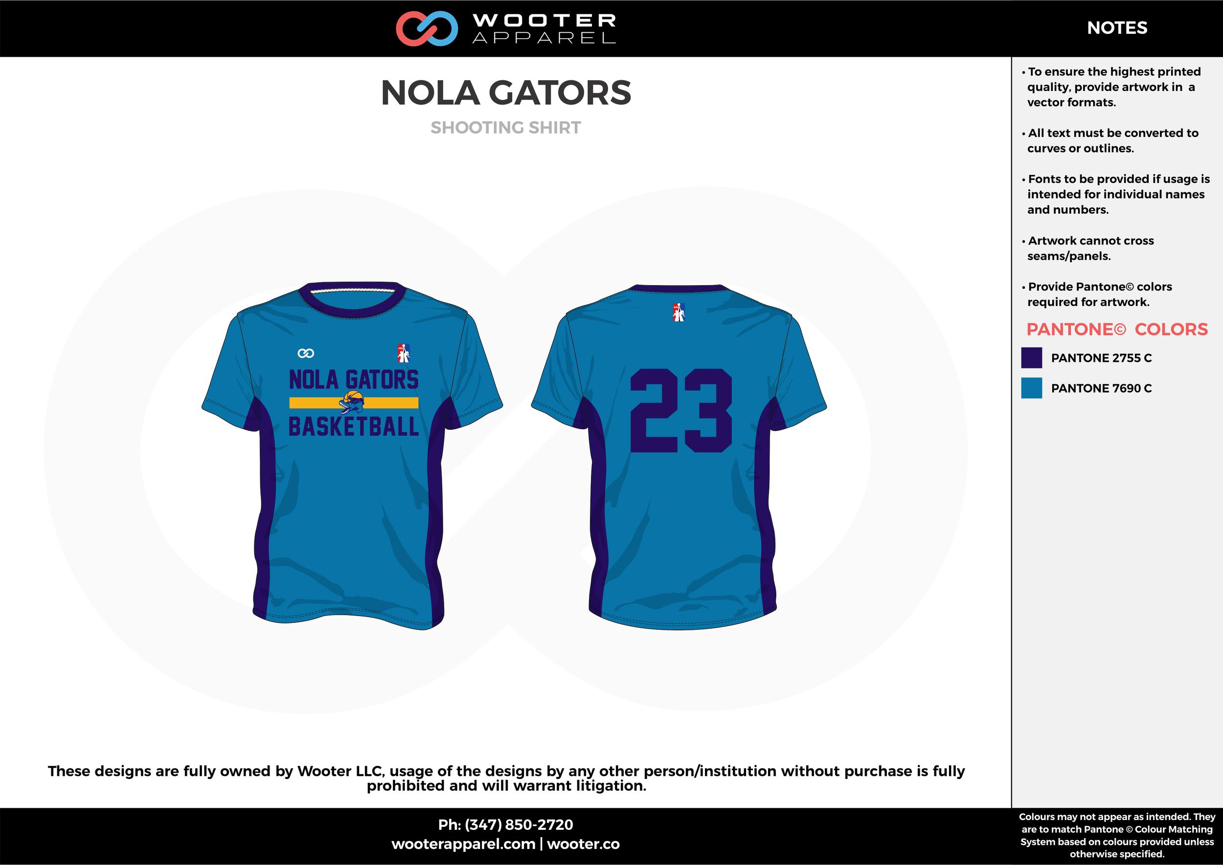 NOLA GATORS dark/sky blue Basketball Short Sleeve Shooting Shirt