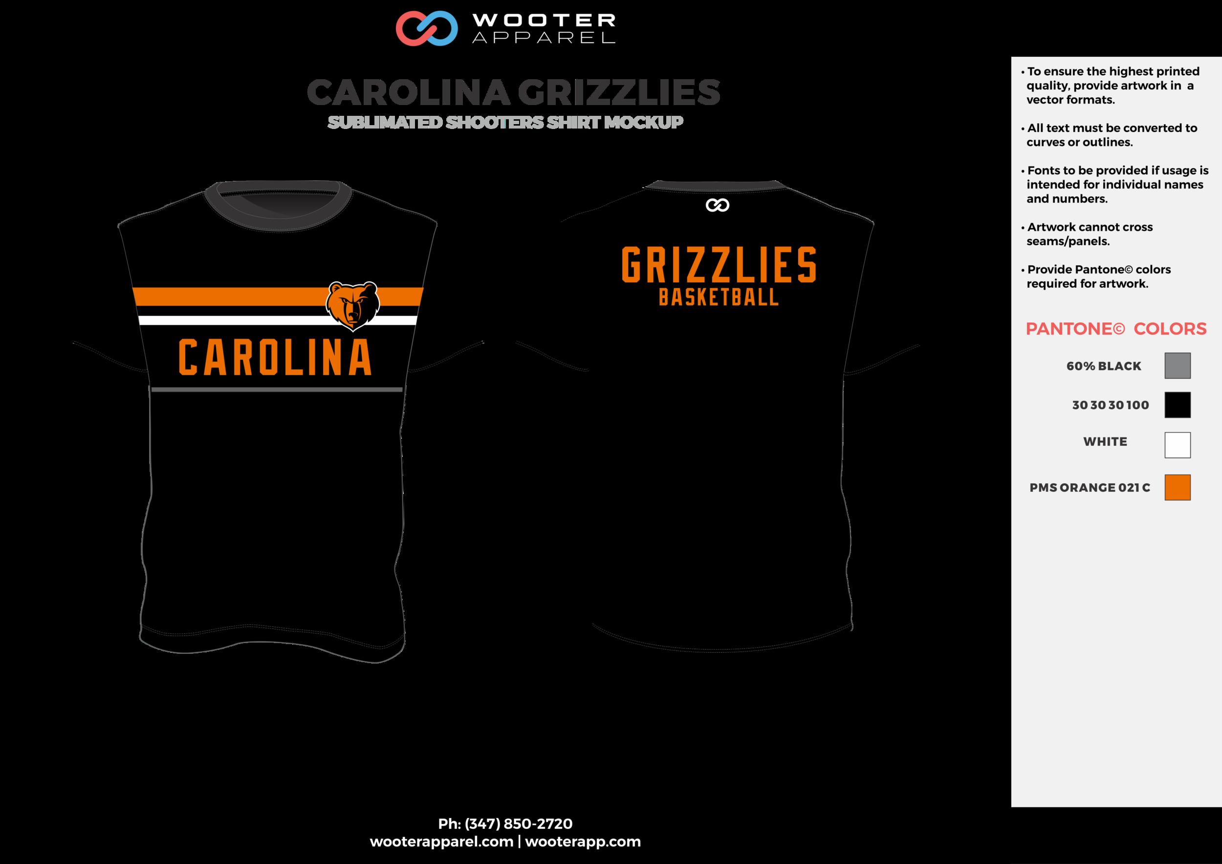 CAROLINA GRIZZLIES black gray orange white Basketball Short Sleeve Shooting Shirt