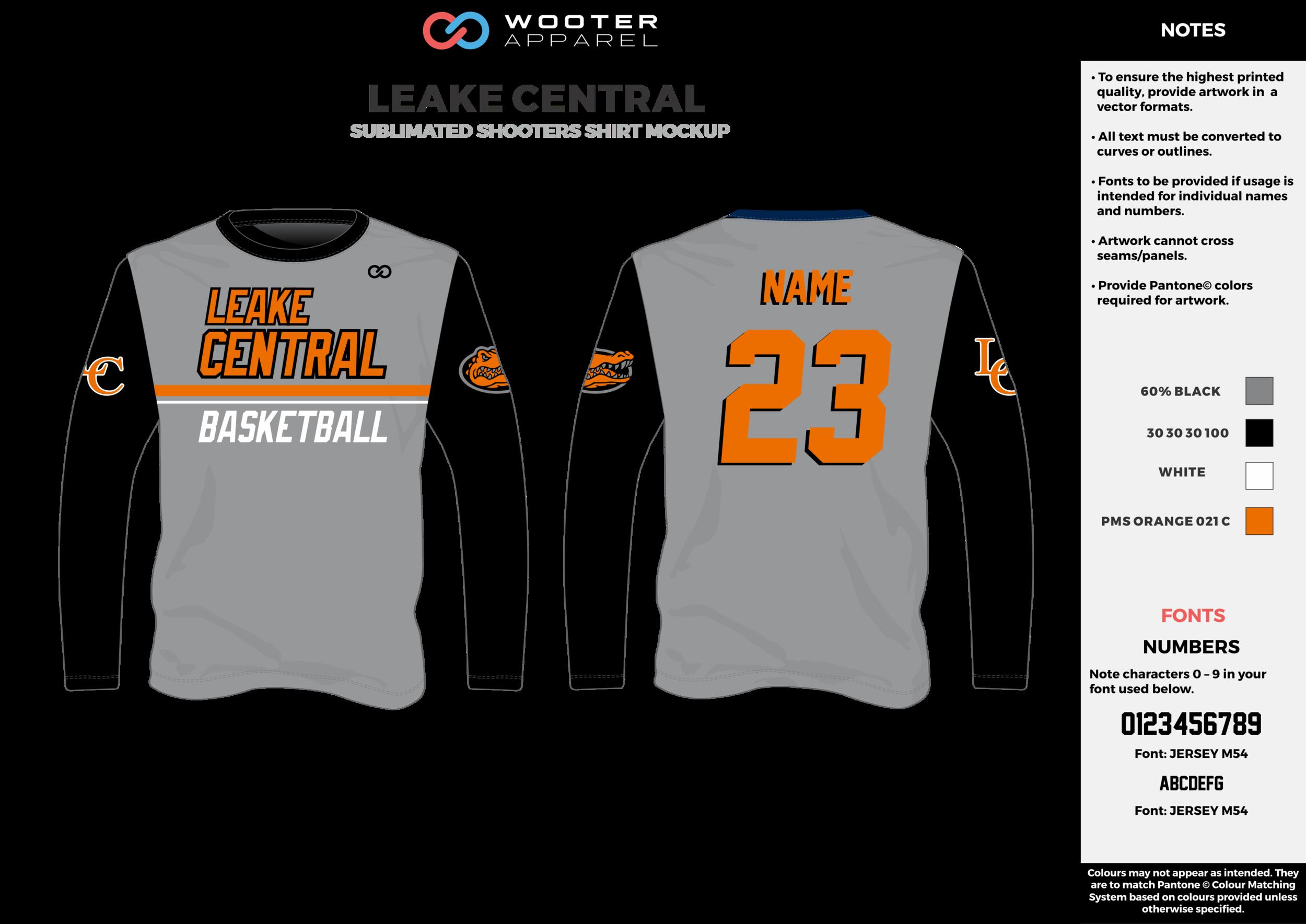 LEAKE CENTRAL gray black orange white Basketball Long Sleeve Shooting Shirt