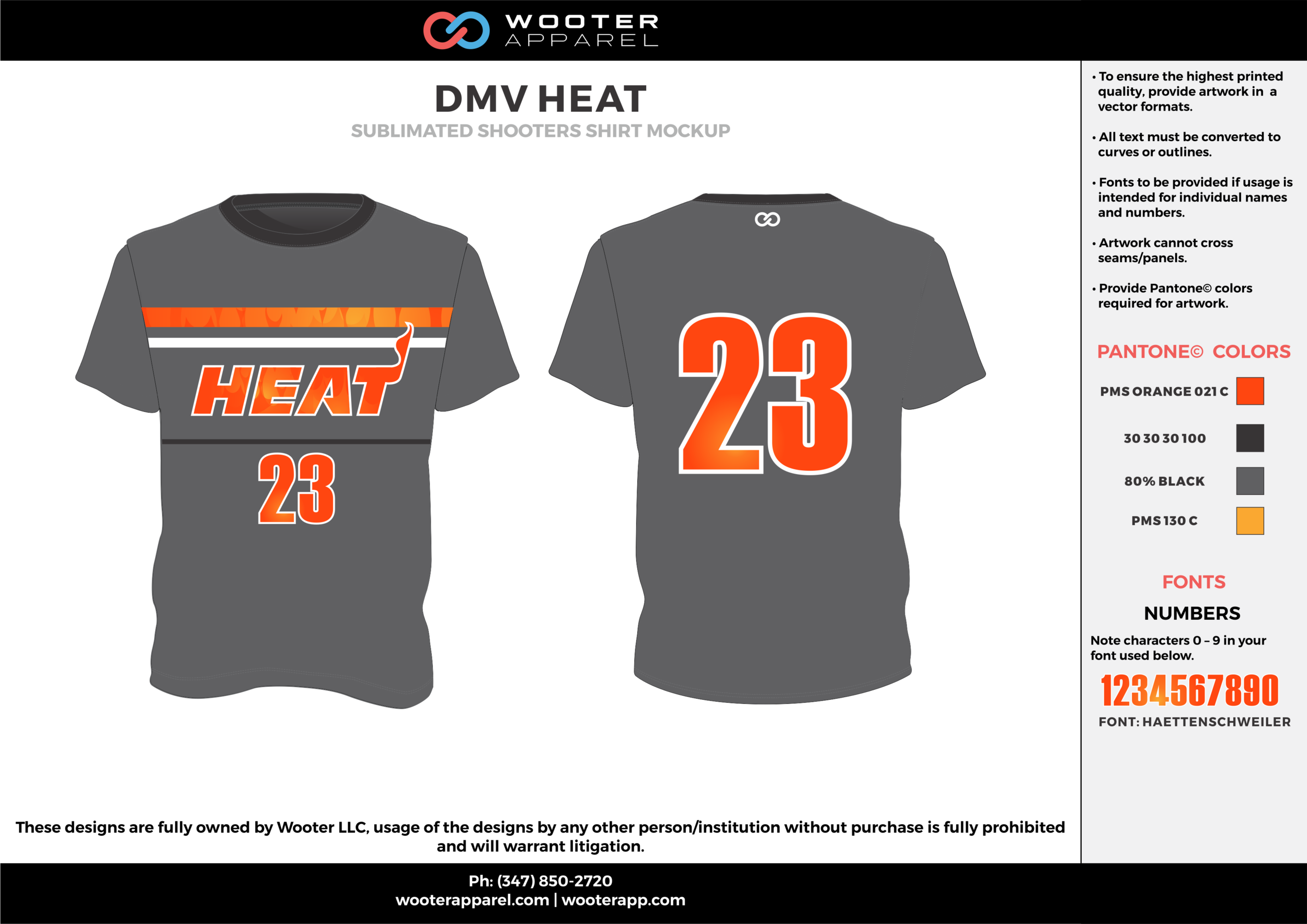 DMV HEAT orange black gray Basketball Short Sleeve Shooting Shirt