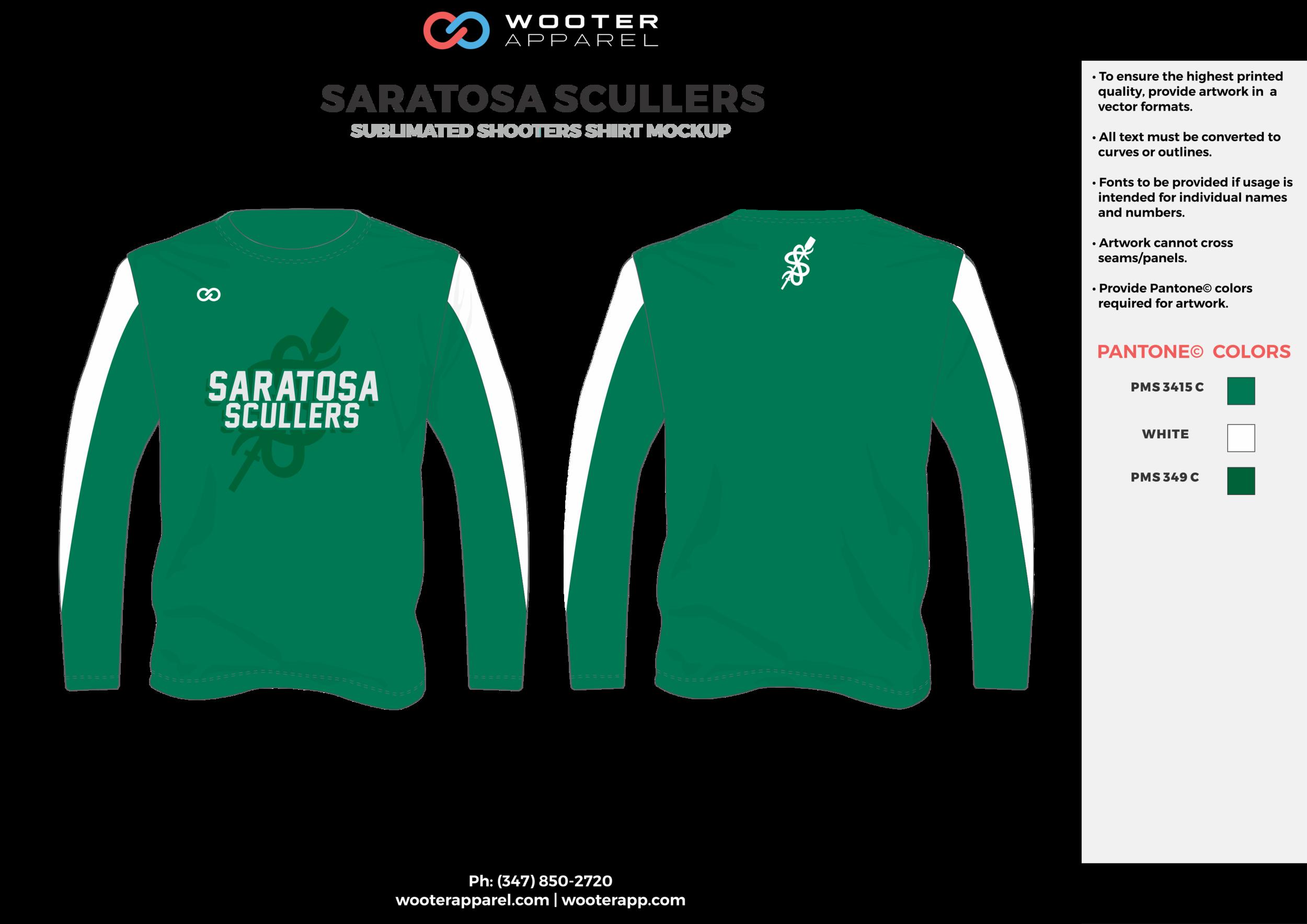 SARATOSA SCULLERS green white Basketball Long Sleeve Shooting Shirt