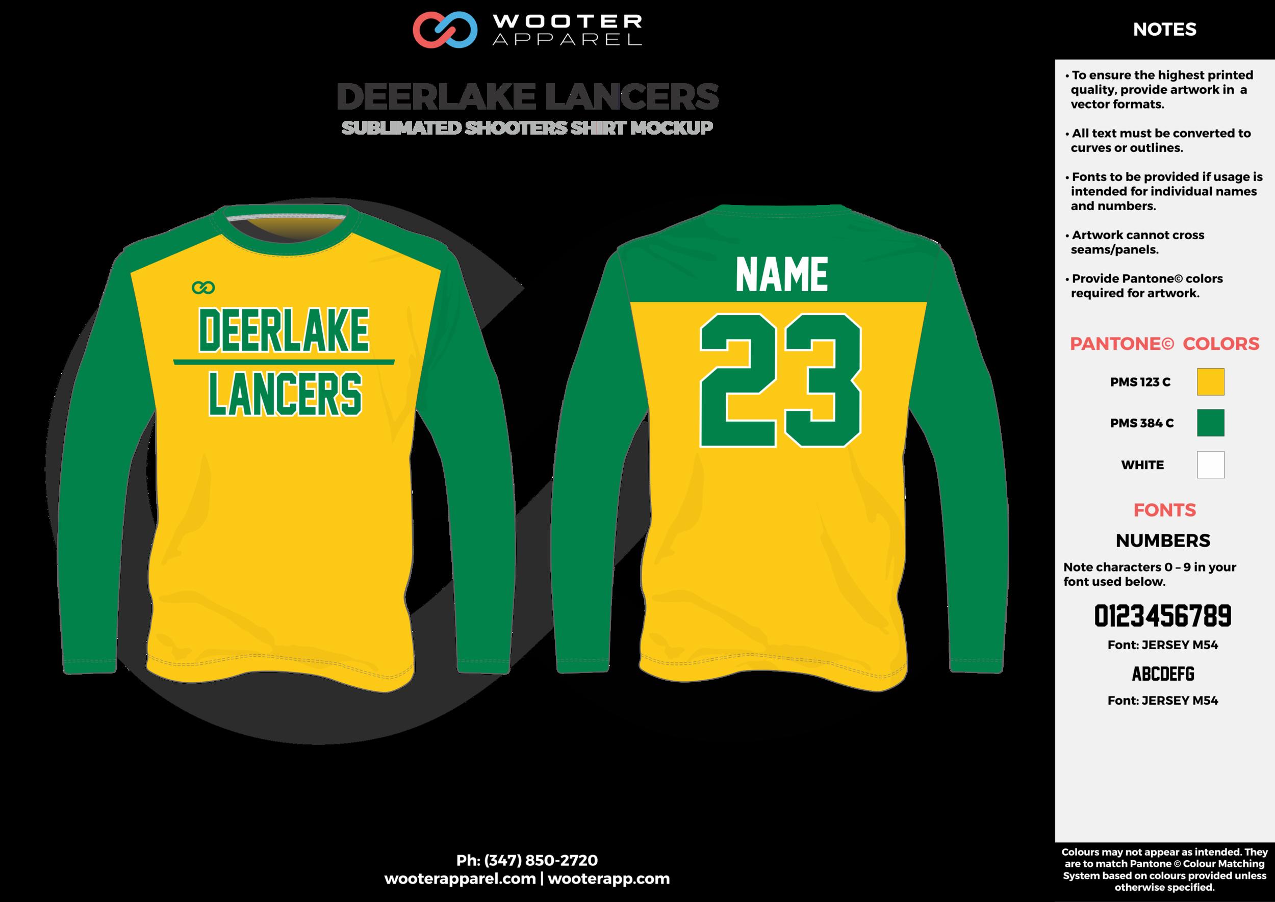 DEERLAKE LANCERS green yellow white Basketball Long Sleeve Shooting Shirt