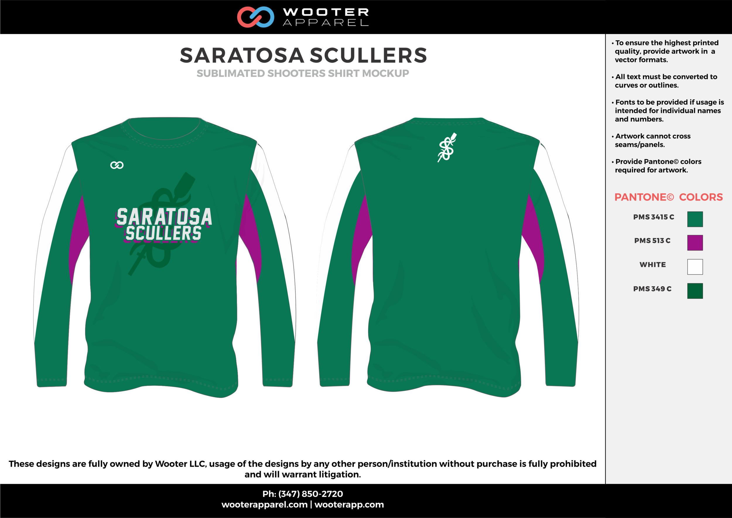 SARATOSA SCULLERS green pink white Basketball Long Sleeve Shooting Shirt