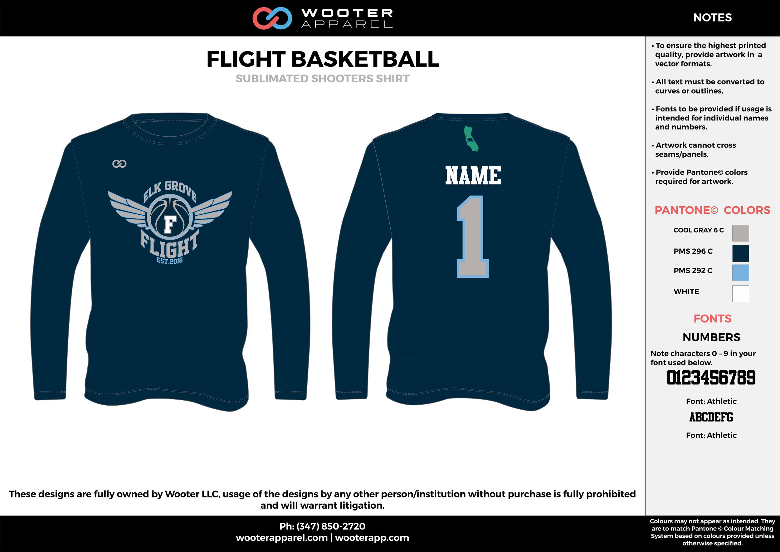 FLIGHT BASKETBALL gray blue white Basketball Long Sleeve Shooting Shirt