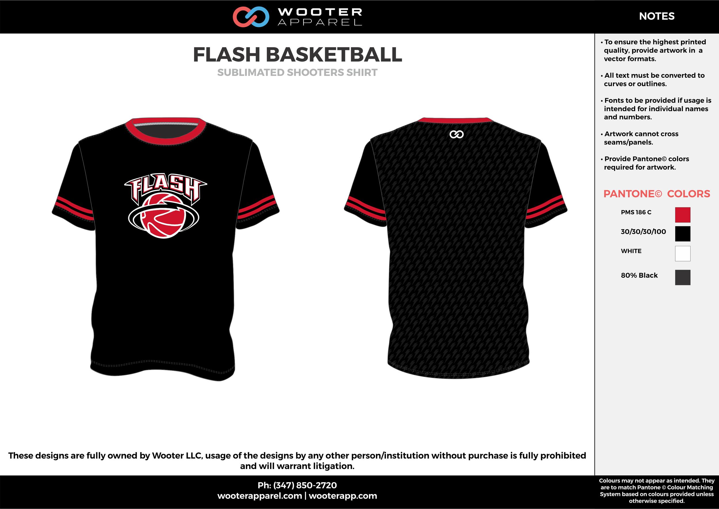FLASH BASKETBALL black red white Basketball Long Sleeve Shooting Shirt