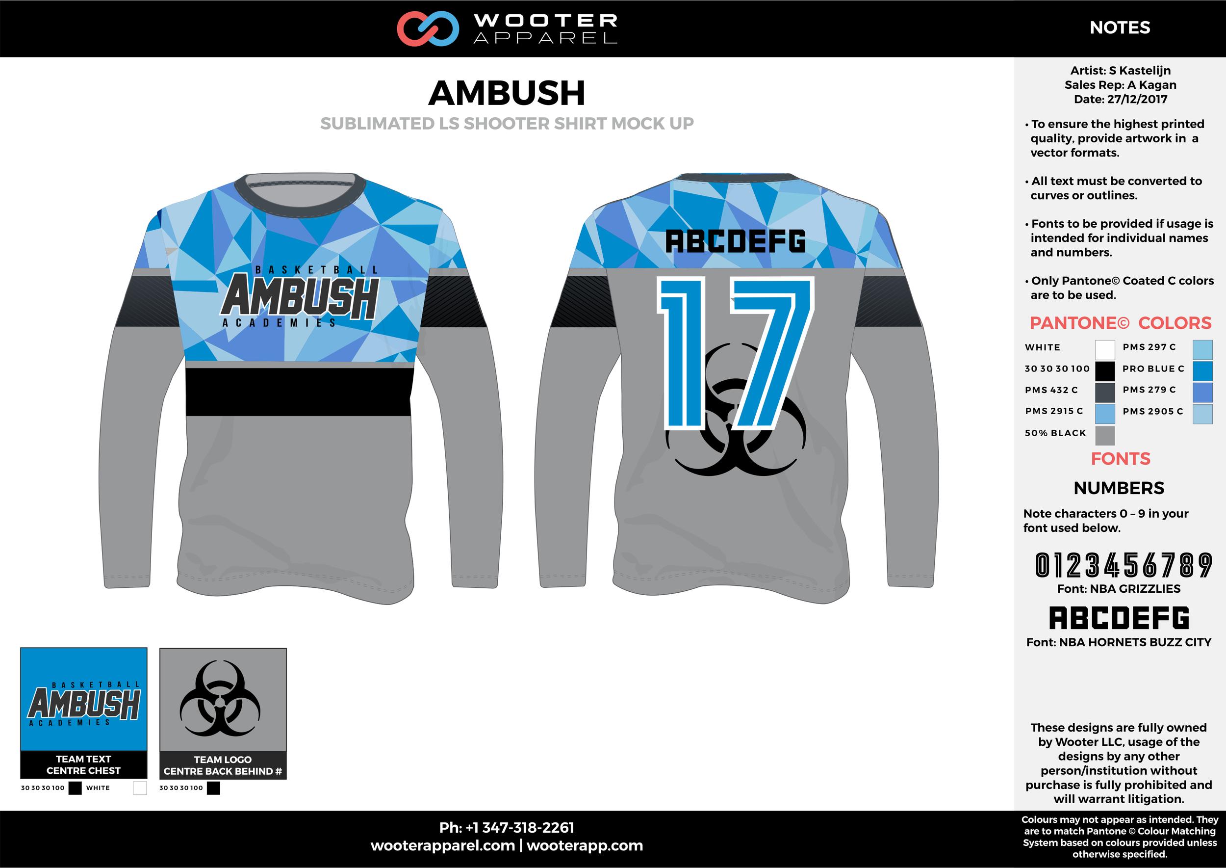 AMBUSH black blue gray white Basketball Long Sleeve Shooting Shirt