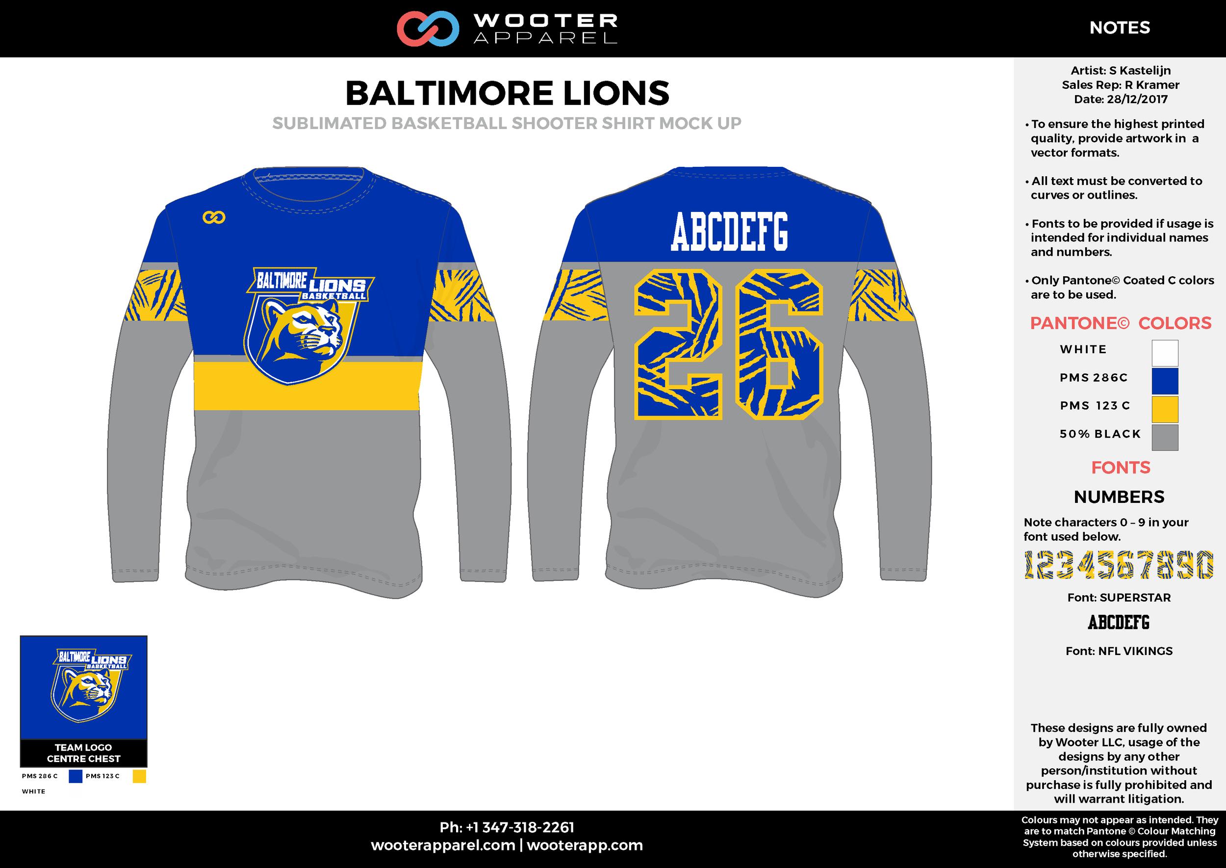 BALTIMORE LIONS blue gray yellow white Basketball Long Sleeve Shooting Shirt