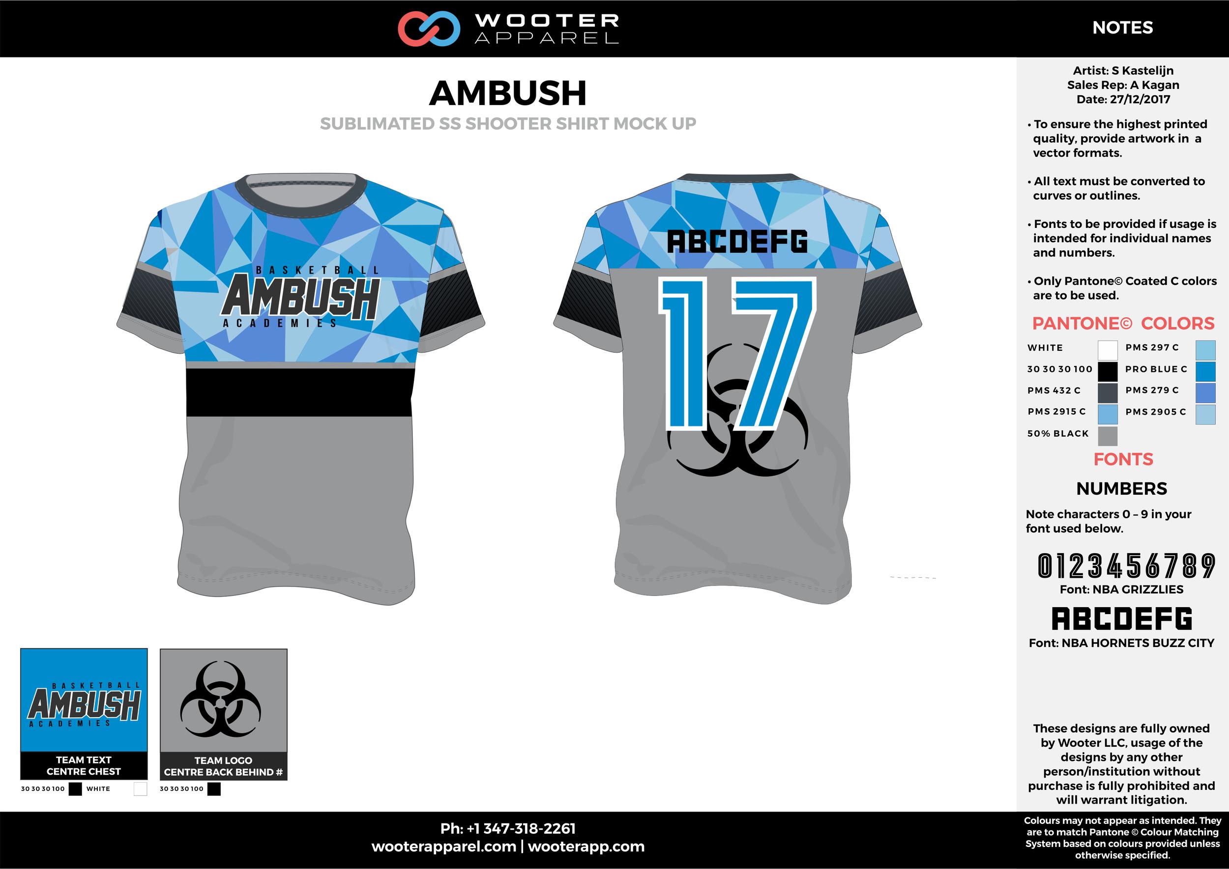AMBUSH blue black gray white Basketball Long Sleeve Shooting Shirt