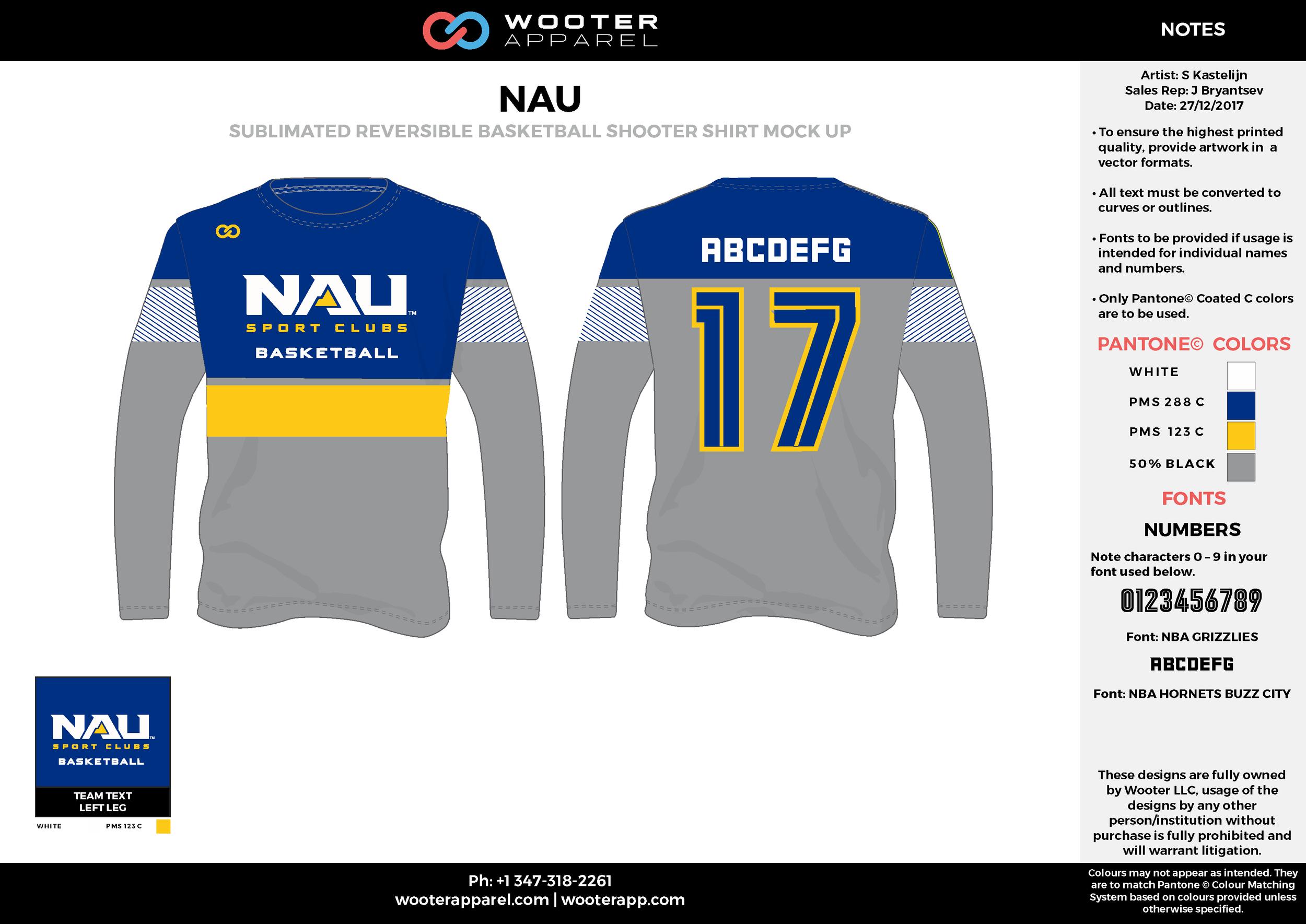 NAU gray blue yellow white Basketball Long Sleeve Shooting Shirt