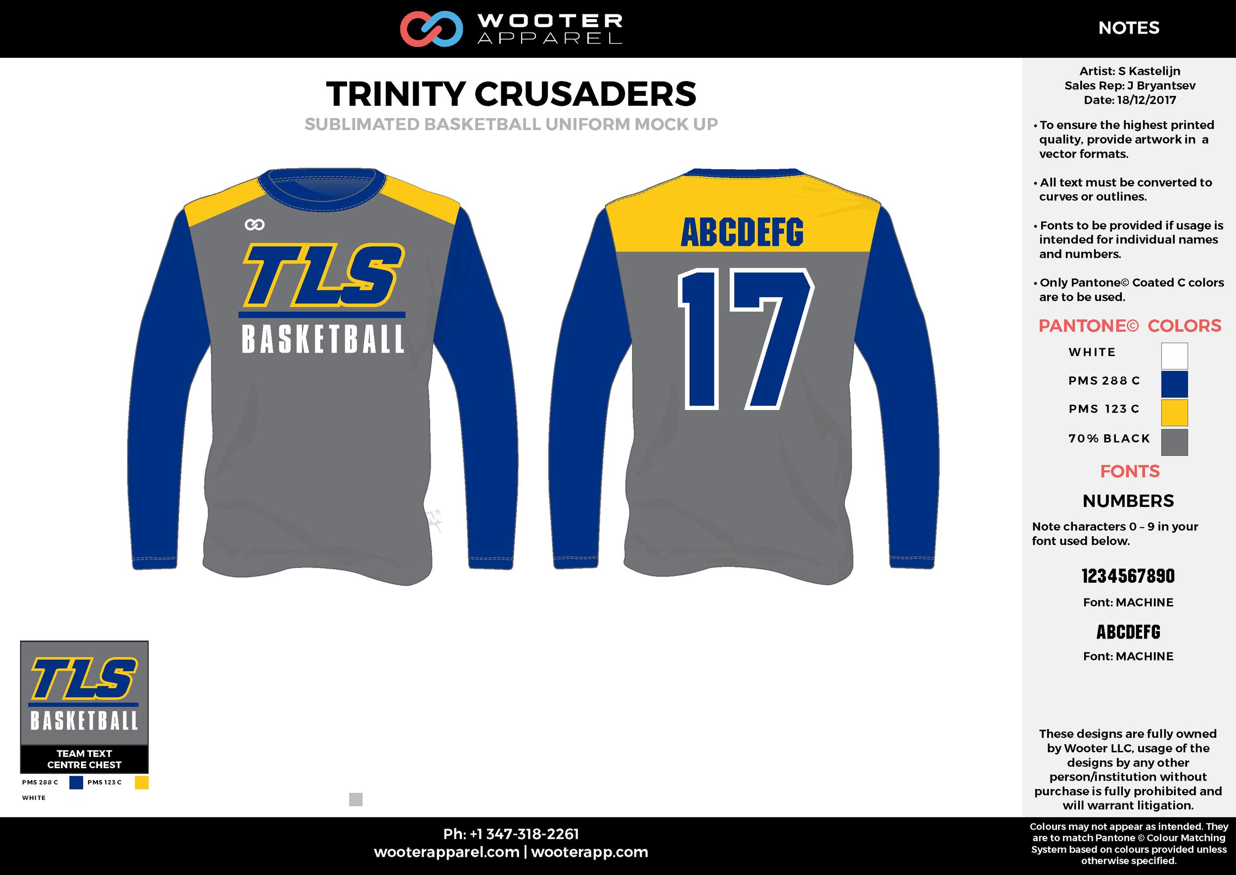 TRINITY CRUSADERS blue yellow gray white Basketball Long Sleeve Shooting Shirt
